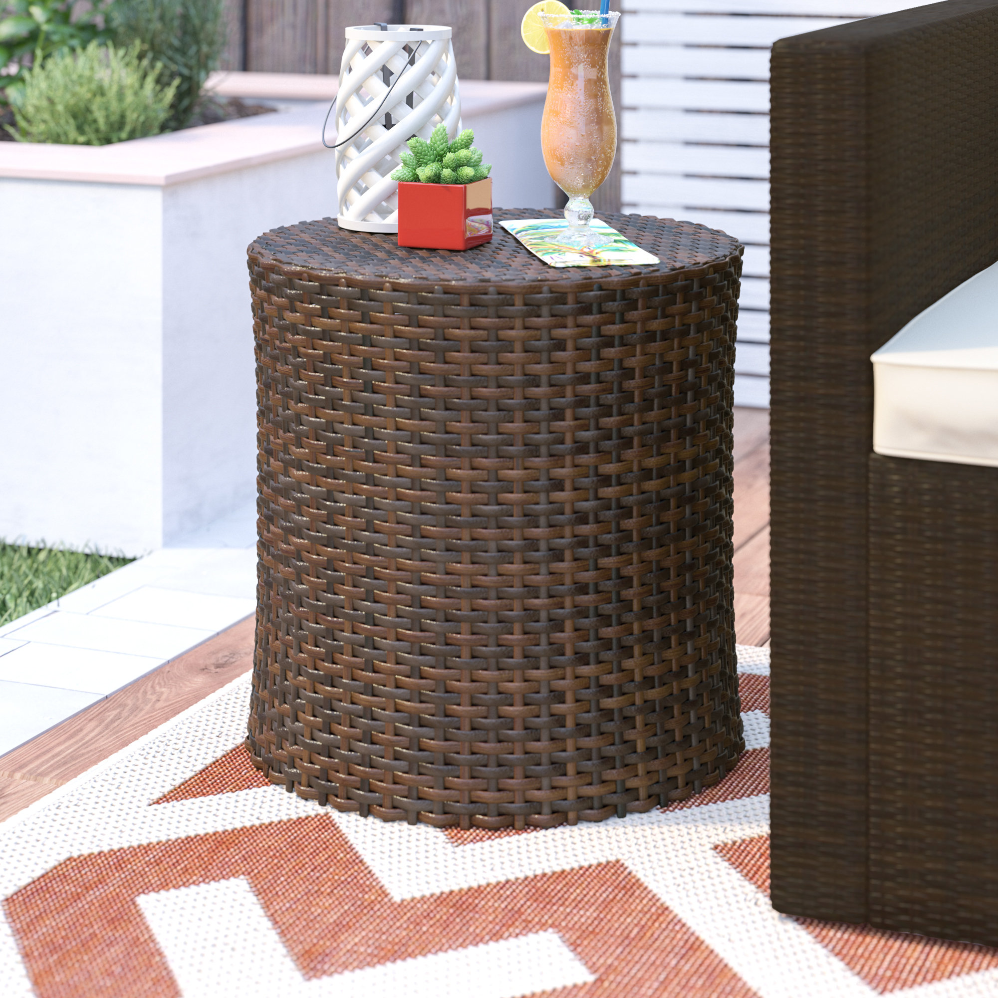 front porch wicker furniture mazzella barrel side table outdoor accent quickview building legs inch wall clock patio cooler hoodie jacket mounted dining with wine rack tall lamp