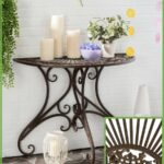 full victorian charm this pretty half round accent table rustic brown iron console side porch patio even entry small coffee simon lee furniture slim lamp stained glass light bulb 150x150