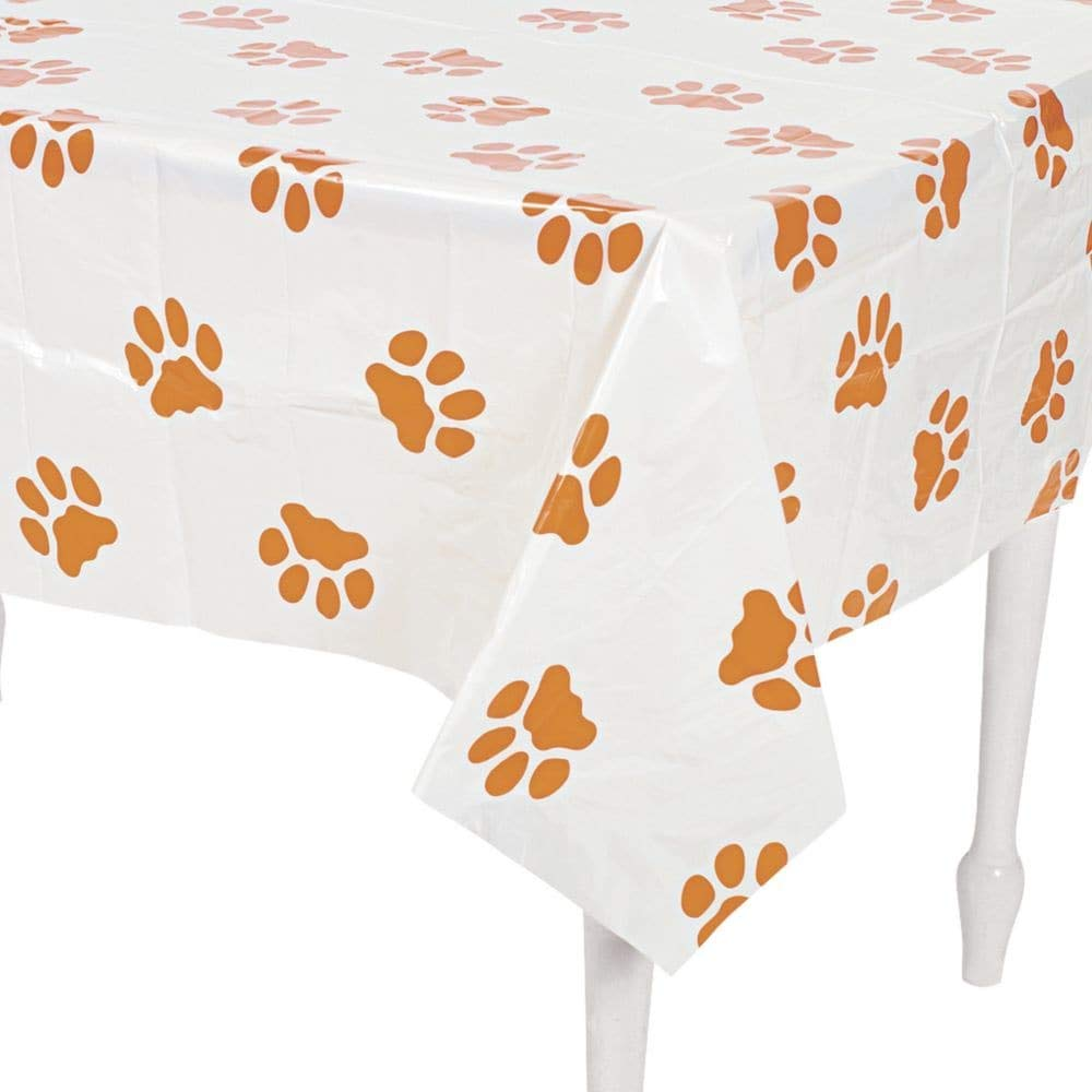 fun express puppy dog paw print plastic table cover accent cloth covers kitchen dining yellow dragonfly tiffany style lamp target ott tray vintage drawer pulls cream end tables