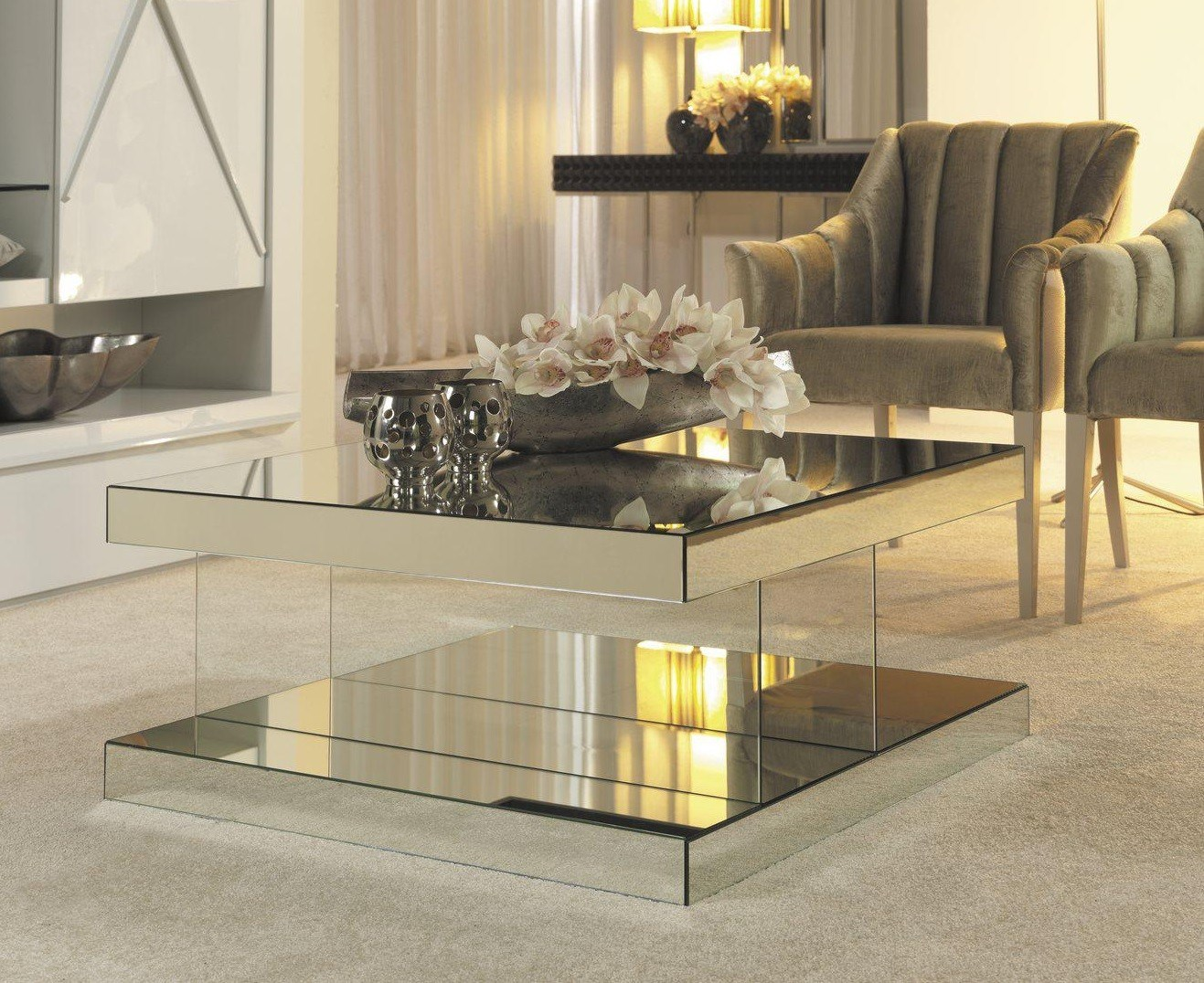 furniture accessories unique modern mirrored glass accent table beautiful living room decorating ideas with square coffee and small mid century style leather armchairs unusual