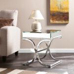 furniture accessories unique modern mirrored glass accent table contemporary living room design with small vintage fabric sofa and cone ceramic laml plus square end designs 150x150