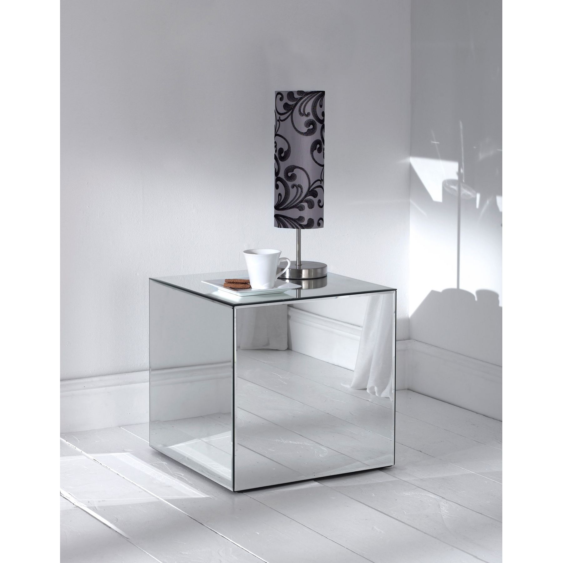 furniture accessories unique modern mirrored glass accent table cube shaped laminate mirror side with polished wood bedroom flooring and tube steel lamp drawer unusual ellen allen