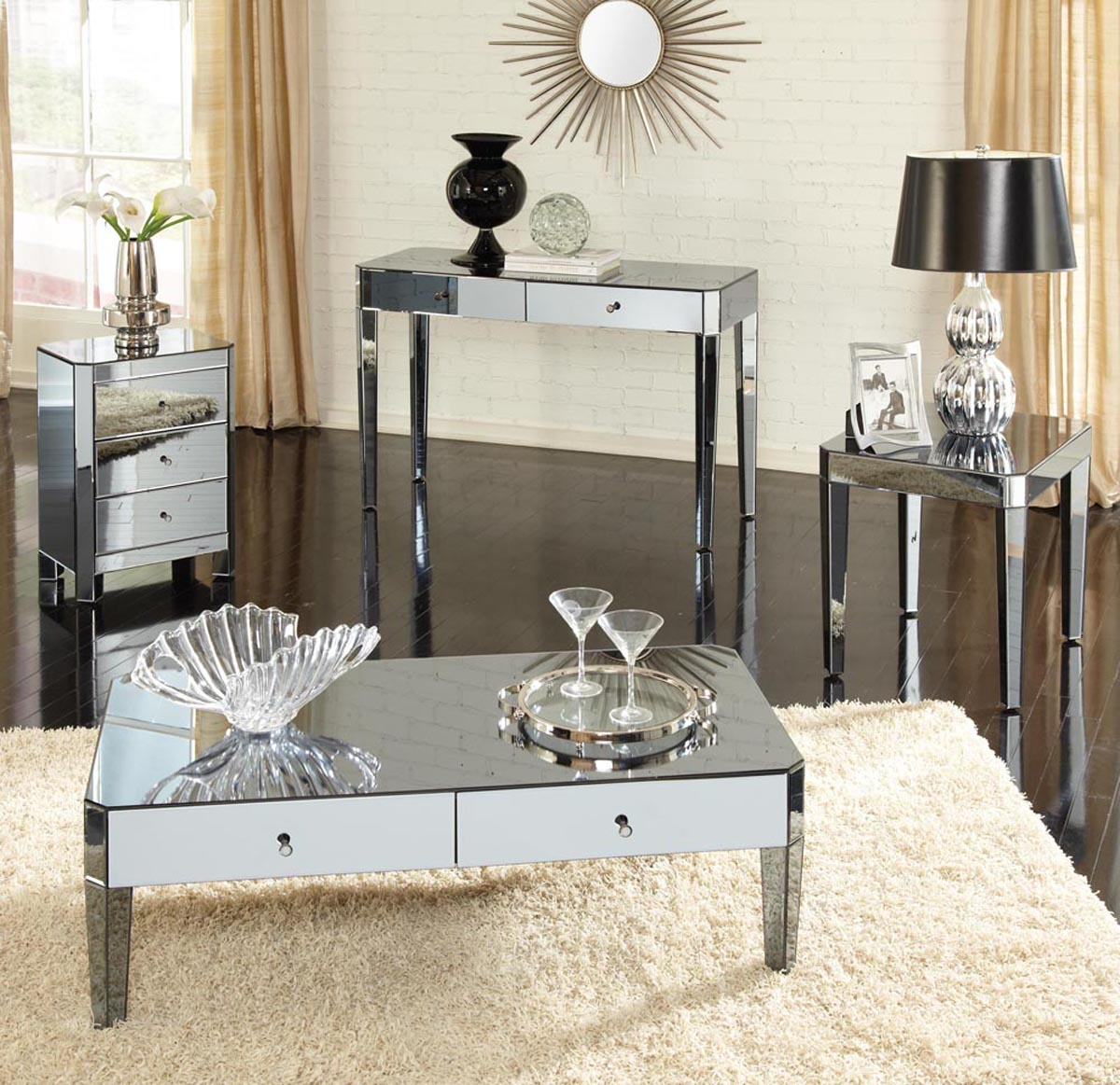 Furniture Accessories Unique Modern Mirrored Glass Accent Table