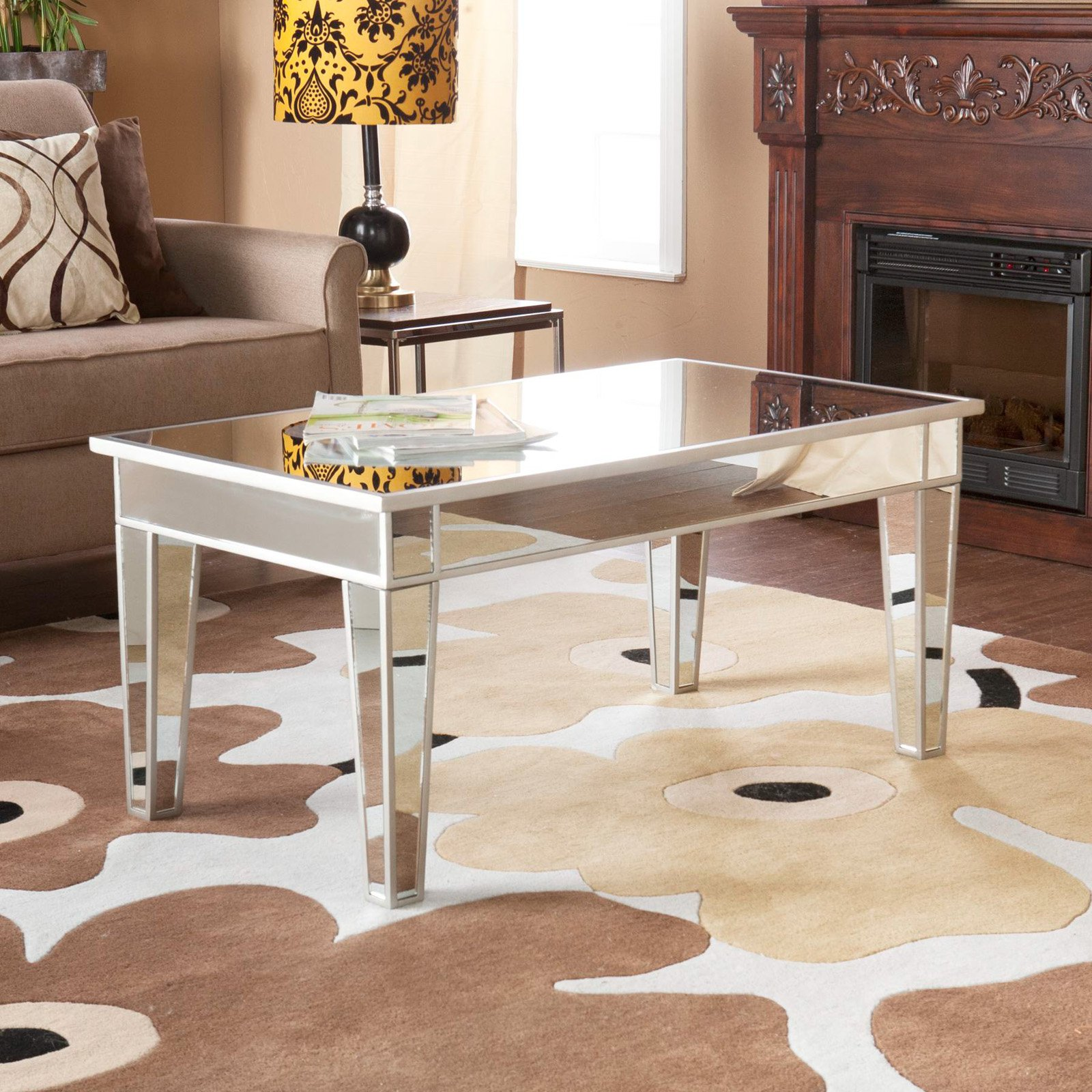 furniture accessories unique modern mirrored glass accent table stylish living room design with small brown contemporary sofa and floral synthetic rugs area also rectangular white
