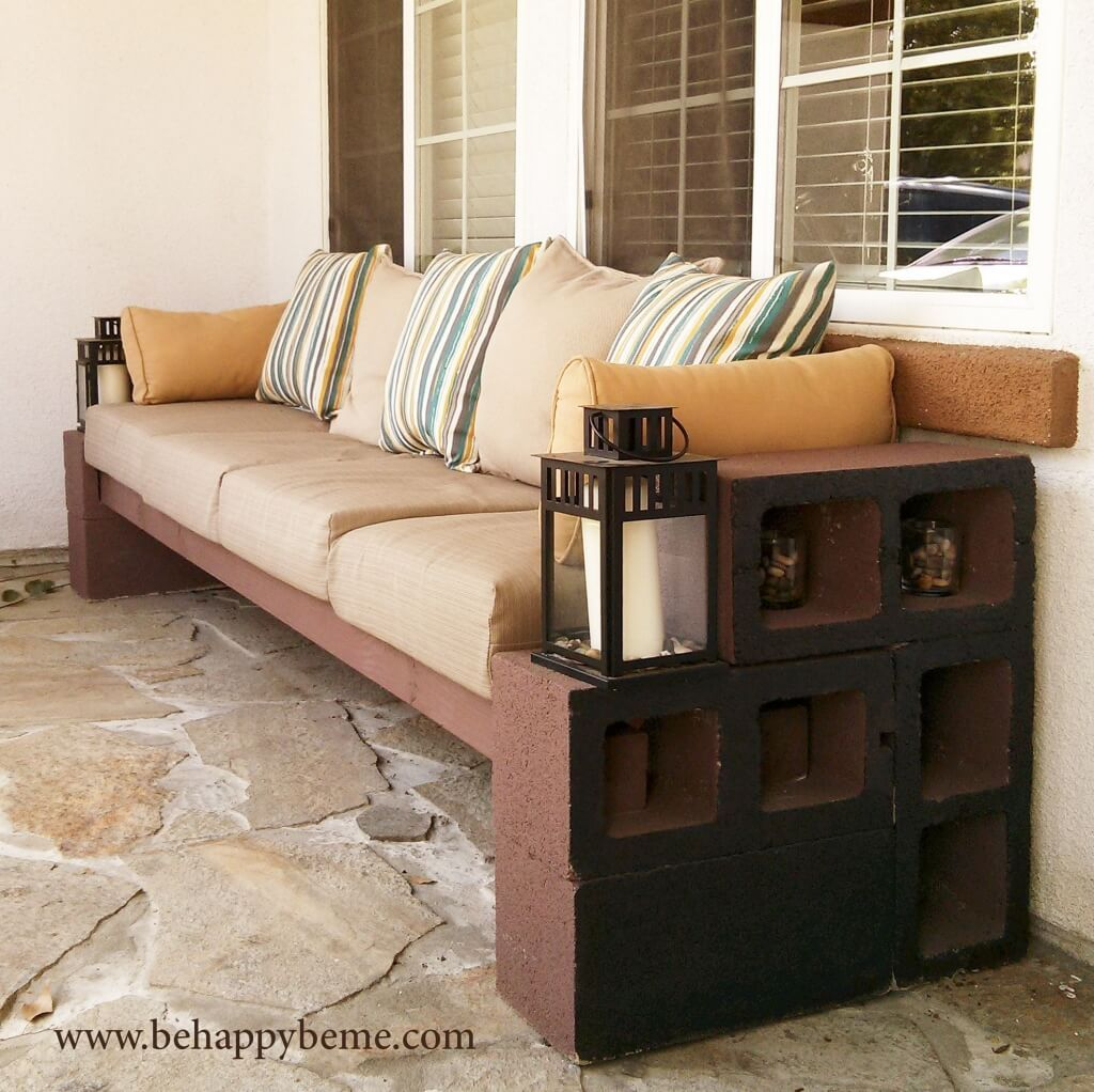furniture amazing diy patio concrete bench with comfy cushions and stripes pillows plus decorative lantern candle holder ideas metal accent table inch legs kids white desk