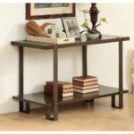 furniture america arbon rustic dark oak sofa table with nailhead accent nailheads free shipping today mirrored bedside lamps bay metal coffee legs island county piece living room 150x150