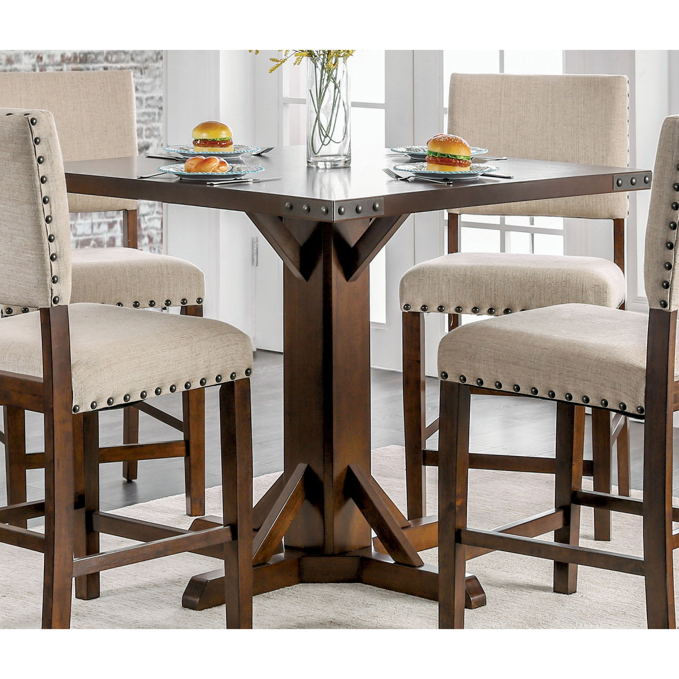furniture america banea rustic nailhead brown cherry counter height table accent free shipping today blue lacquer side wicker drum tree stump coffee white pub wooden frog