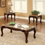 furniture america beltran piece traditional faux solid wood coffee and end table sets marble top accent tables set dark oak kitchen dining small bedside unit living room high 150x150