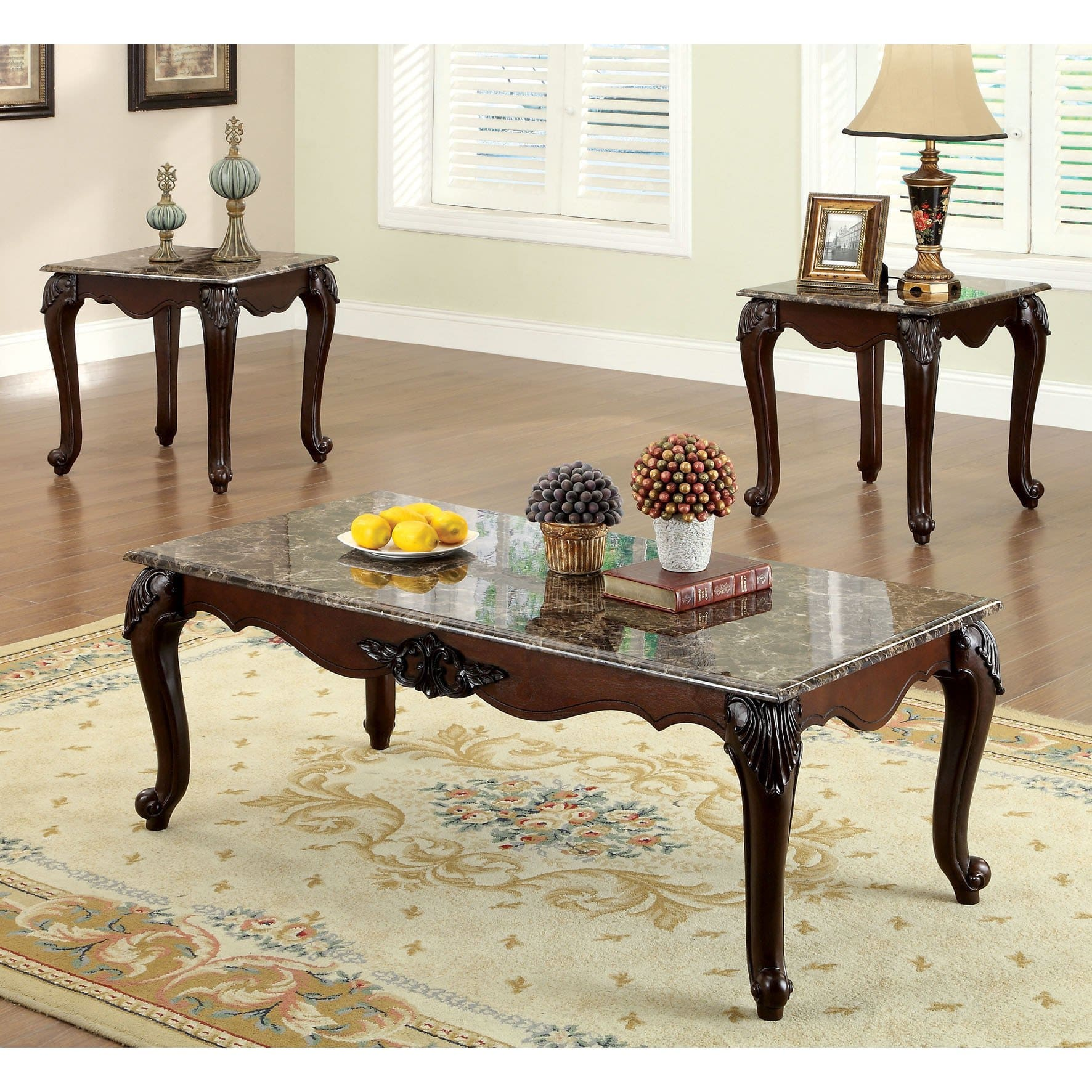 furniture america callington traditional piece faux marble top accent table set free shipping today teak patio large end bbq grill thin living room inexpensive sets wood coffee