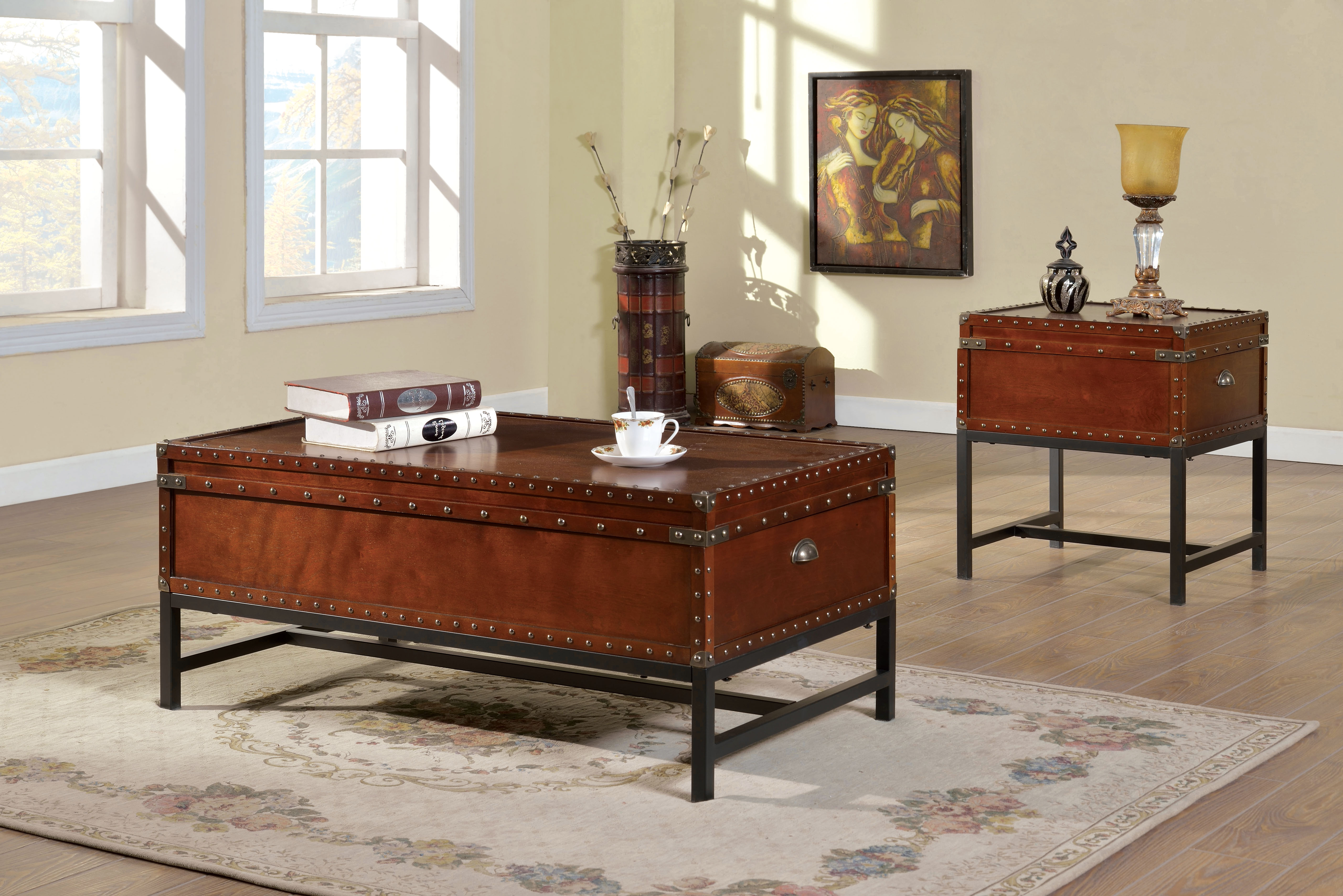 furniture america cherry reichel piece trunk style accent table set prod corner accents narrow trestle dining glass top patio gold setting half circle console matching bedside