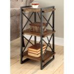 furniture america collins industrial medium weathered oak tier end table tiered metal accent free shipping today folding kmart kids asian drum bottle wine rack modern legs black 150x150