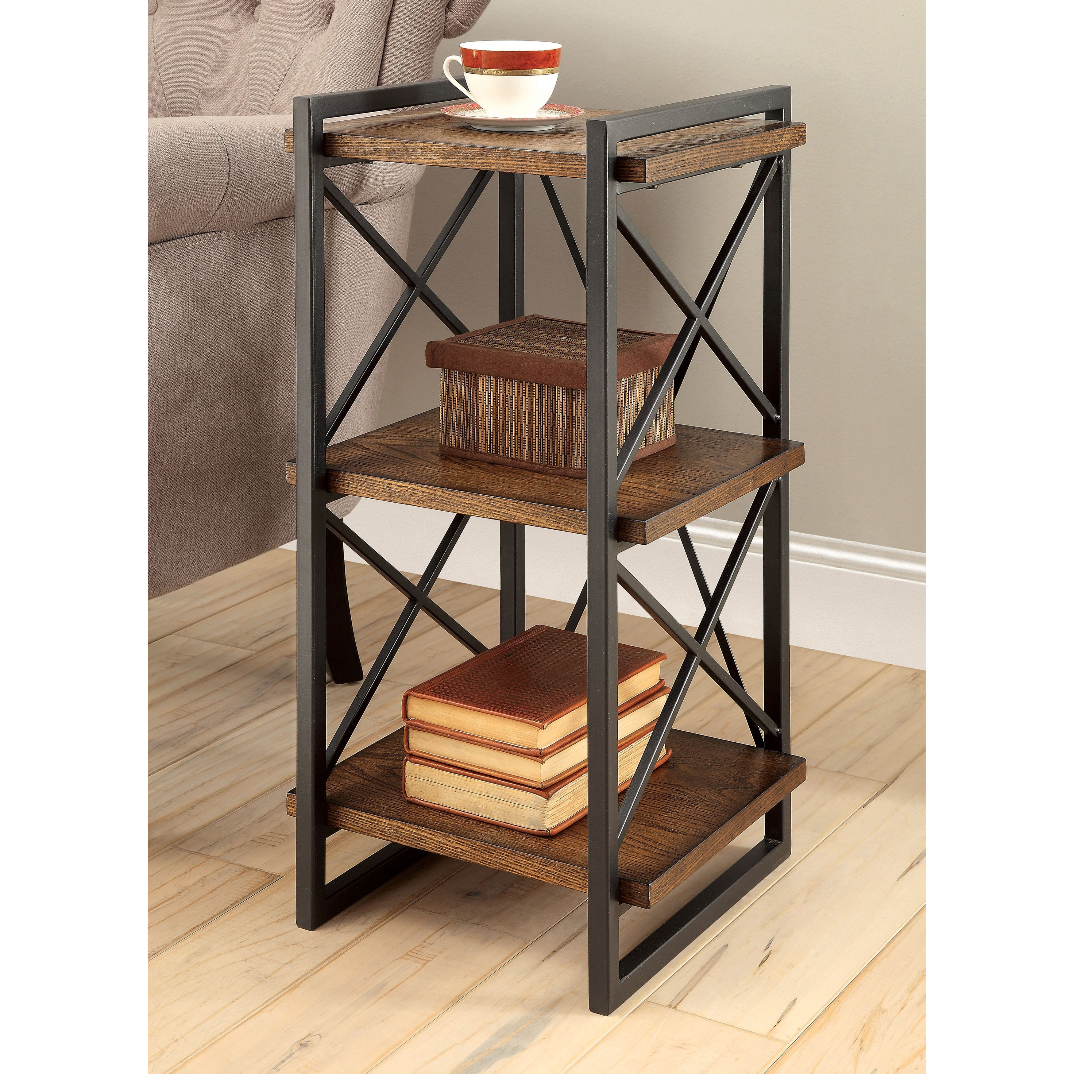 furniture america collins industrial medium weathered oak tier end table tiered metal accent free shipping today folding kmart kids asian drum bottle wine rack modern legs black