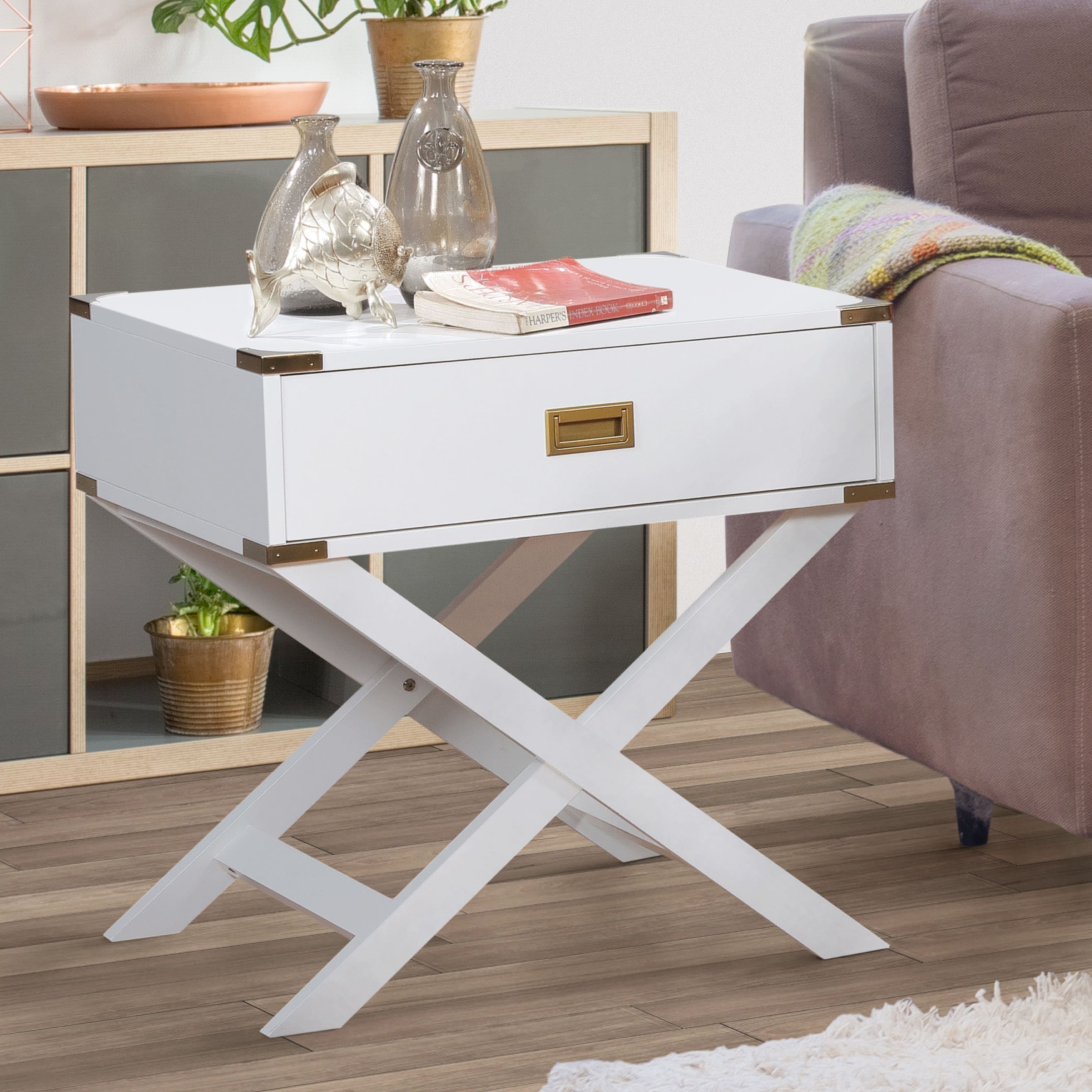 furniture america contemporary single drawer end table room essentials trestle accent white bedside lockers gold mats bathroom caddy flip top matching tables and chest drawers
