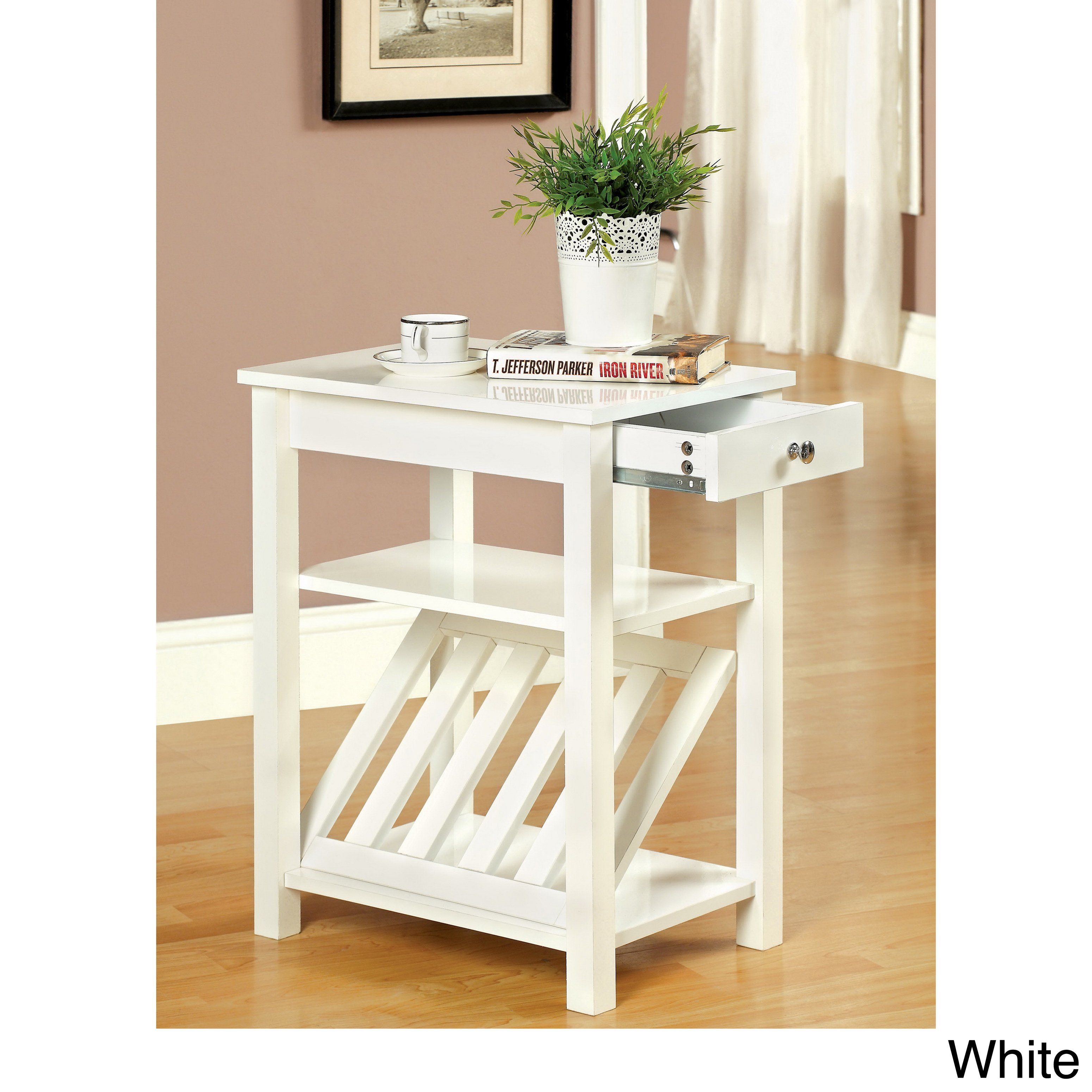 furniture america corin accent table with storage drawer and white magazine rack free shipping today oak floor edge trim oil rubbed bronze spray paint round screw legs home bar