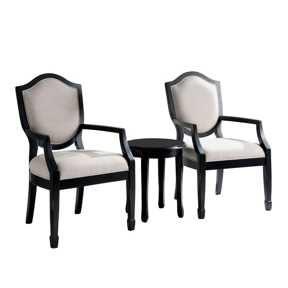 furniture america dweight black linen camelback piece accent chairs idf chair and table set the glass center farmhouse nightstand resin garden quatrefoil green uttermost laton