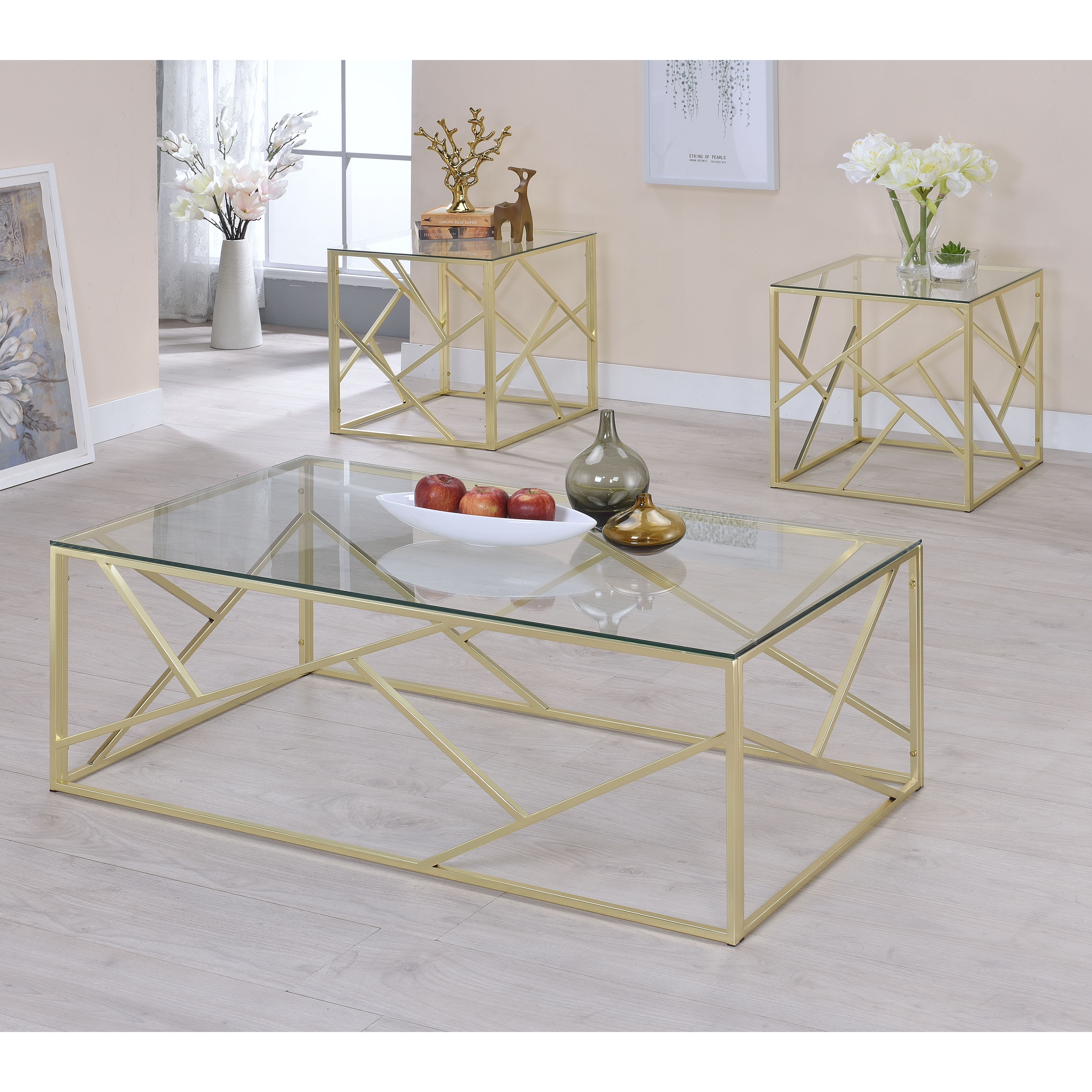 furniture america enderin contemporary metal tempered glass piece accent table set champagne beige beach style lamps kitchen bench ikea lamp with usb port console tables pine