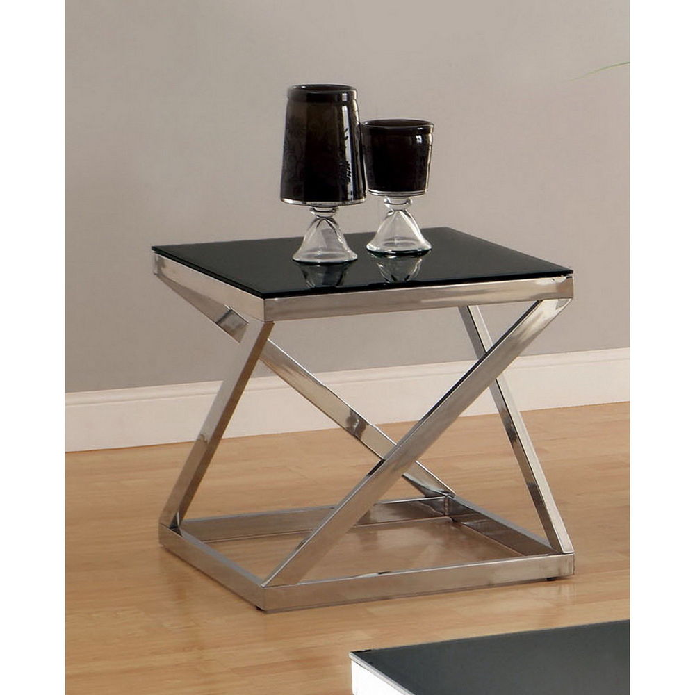 furniture america krystalle chrome and black glass top trestle accent table target end tables mosaic inch round linen tablecloth one door cabinet pottery barn mahogany coffee fold