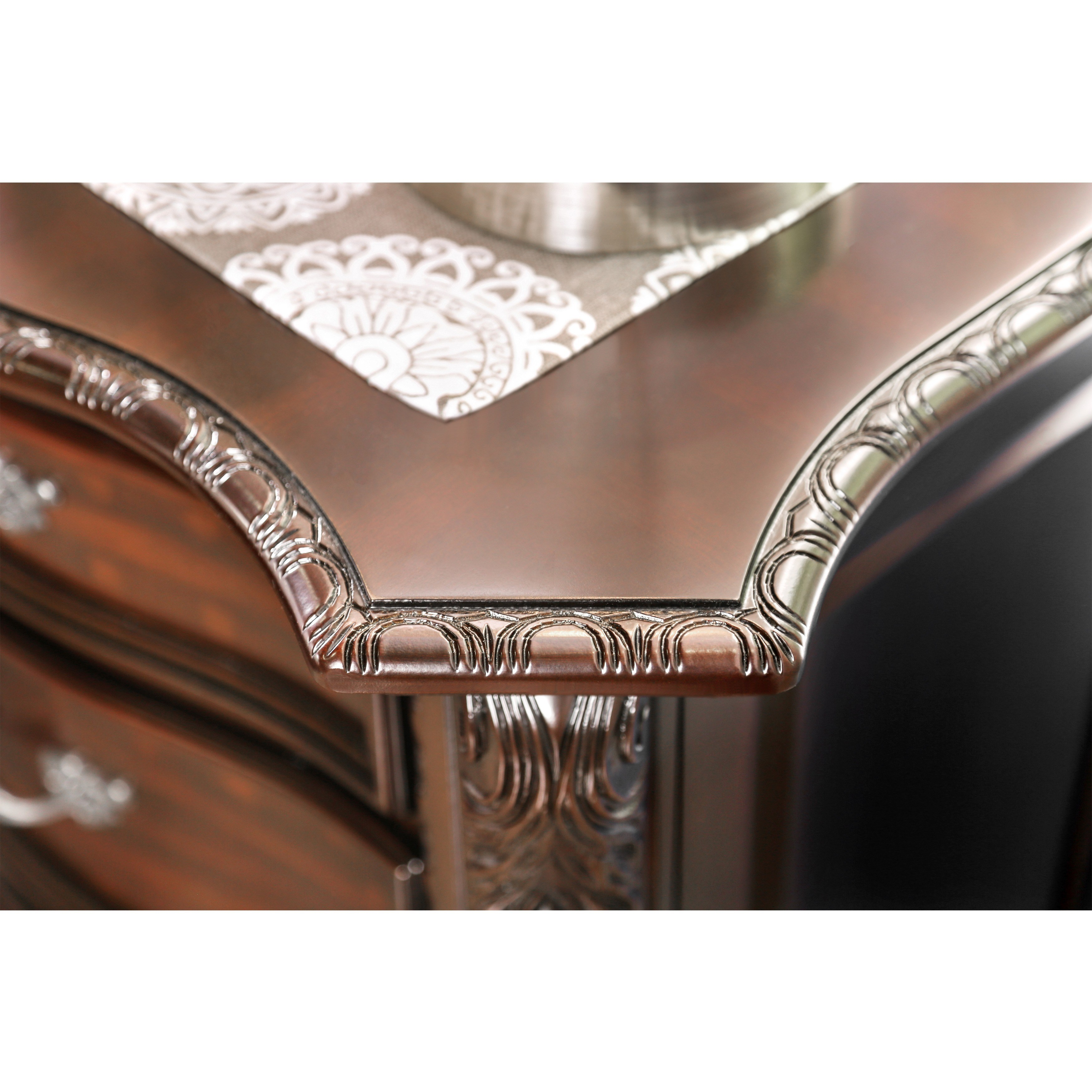 furniture america luxury brown cherry piece baroque style bedroom set accent table free shipping today patio covers canadian tire round iron coffee square cloth tablecloths