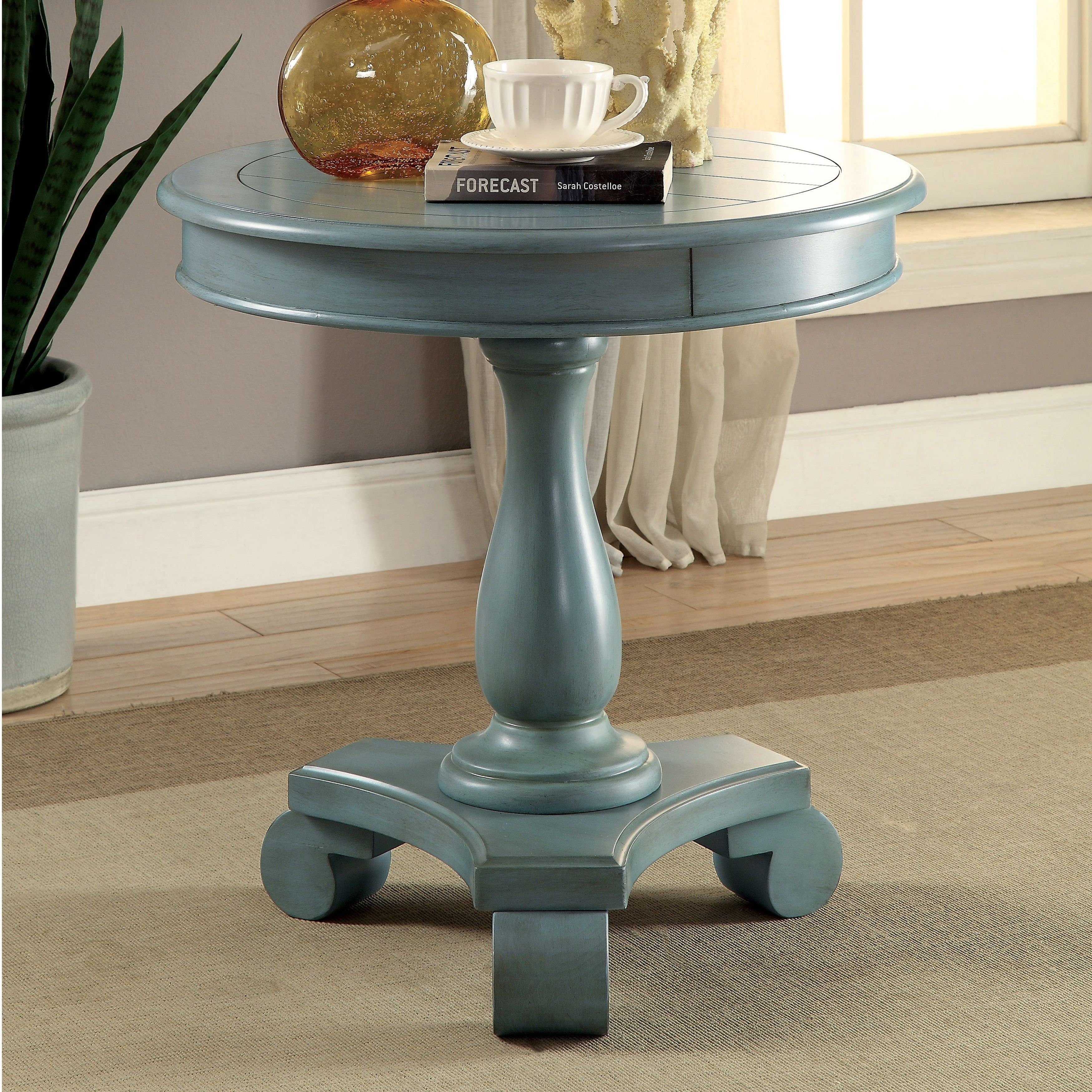 furniture america madelle traditional pedestal base round side antique blue accent table teal industrial couch west elm outdoor pine trestle childrens nic whangarei small plastic