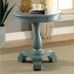 furniture america madelle traditional pedestal base round side teal blue accent table antique white drop leaf resin wicker counter height bar folding nic ikea storage small 150x150