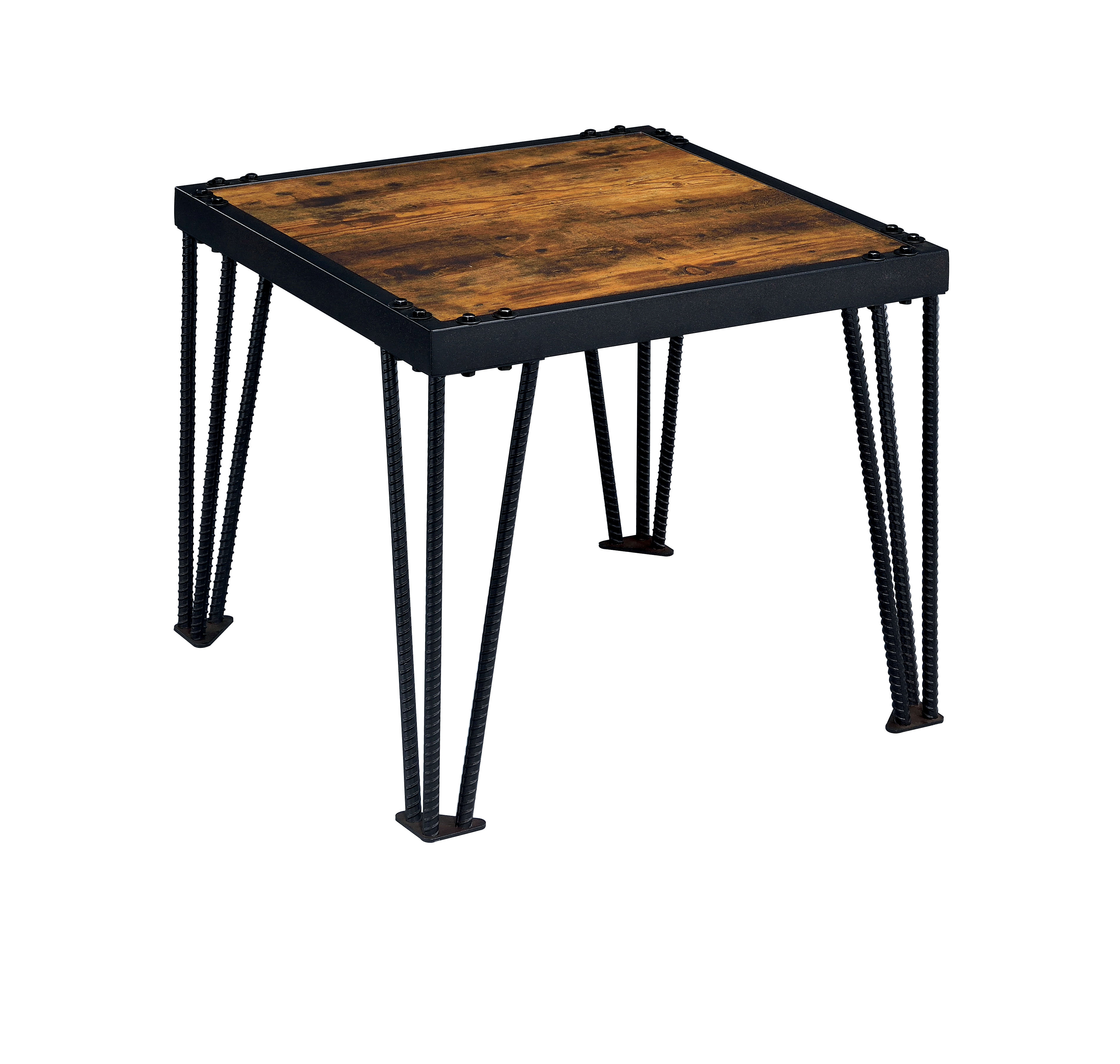 furniture america mally industrial style end table inch high farmhouse accent mosaic garden bench round wood top coffee white wicker counter set ikea wall console small dining and