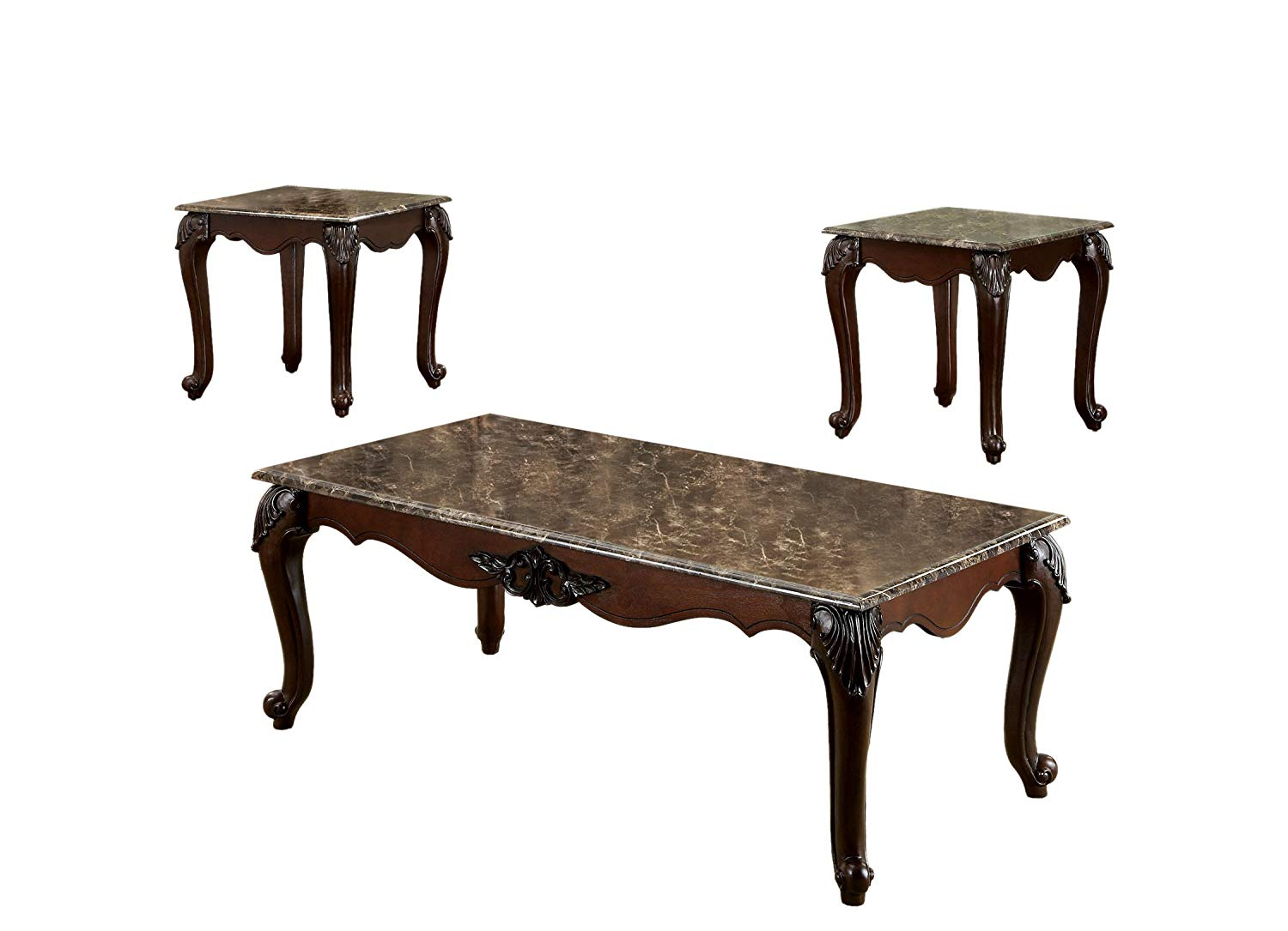 furniture america margaux piece french style accent cherry wood end table set with faux marble tops dark finish kitchen dining pretty coffee tables ikea side drawers locking
