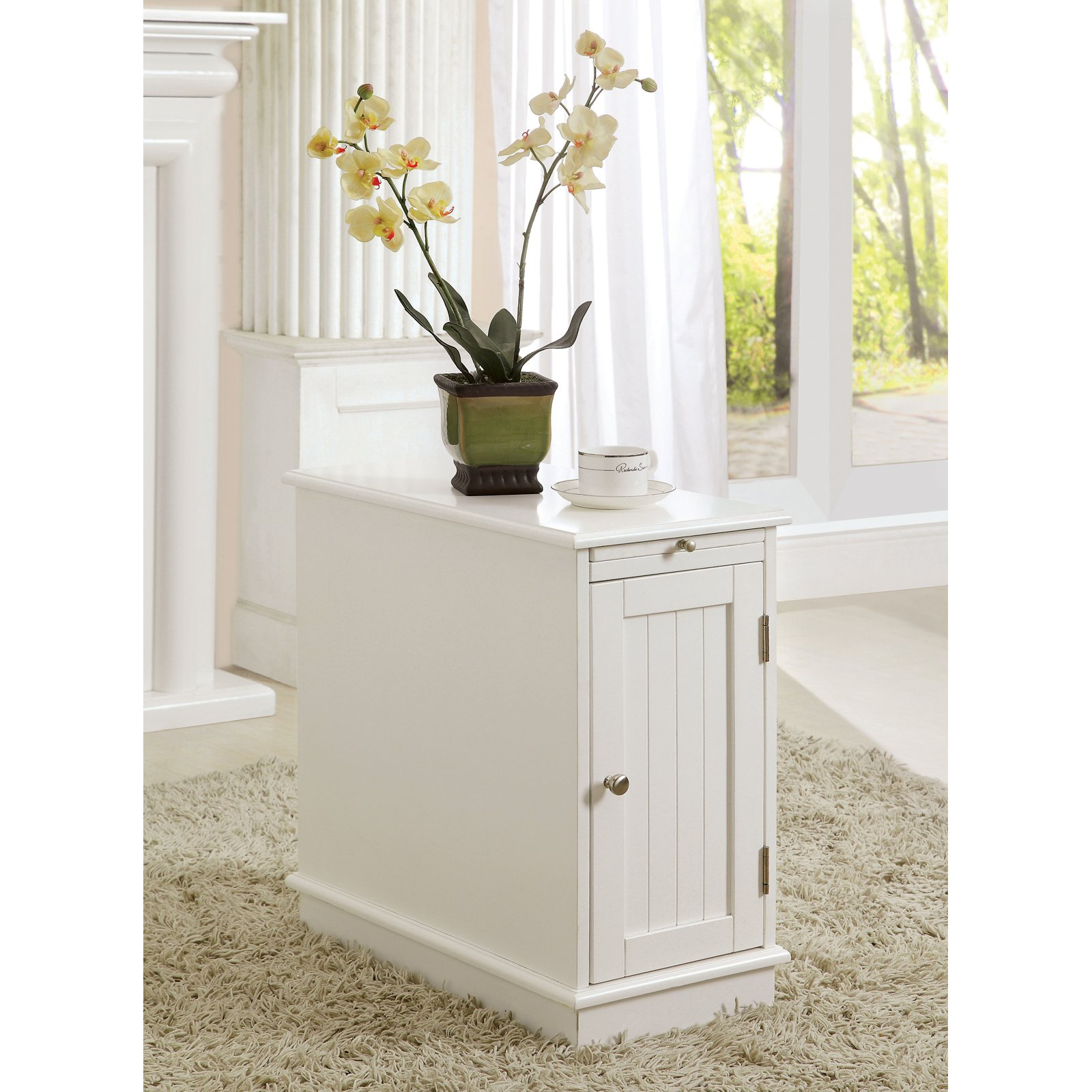 furniture america martine side accent table with beverage tray master white home library basket drawers curtain wire garden beer cooler southern butterfly freedom umbrella design
