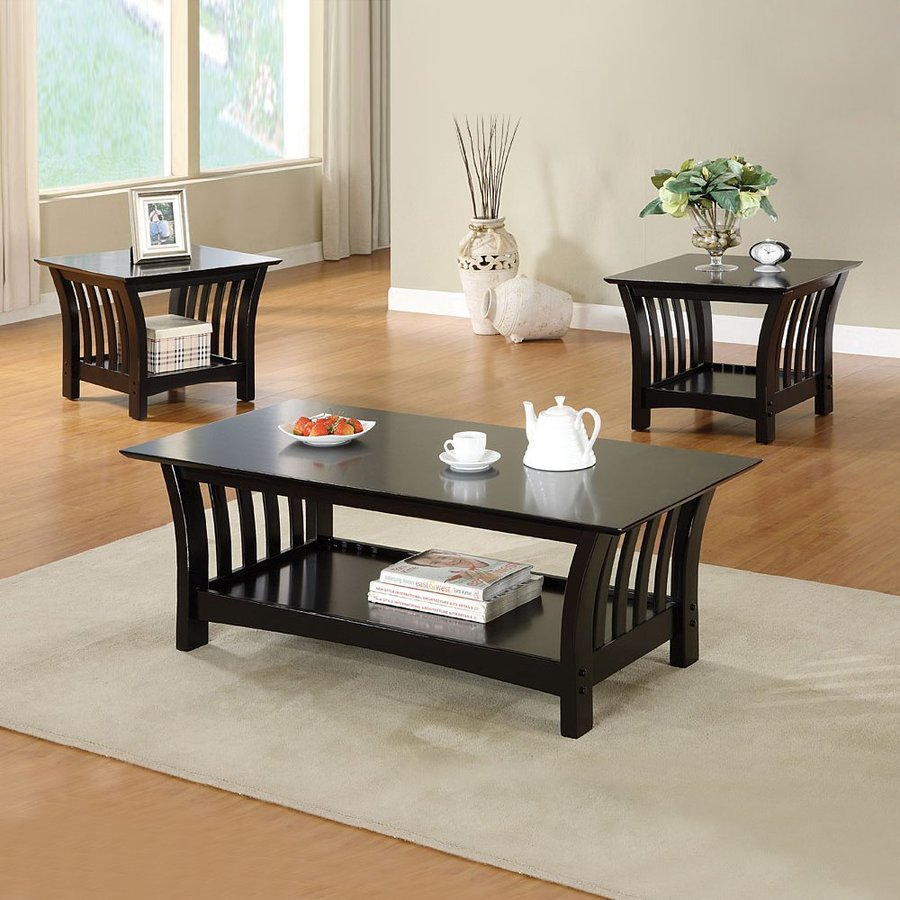 furniture america milford piece black asian hardwood set coffee table end tables accent only ethan allen nightstand maple square patio cover corner display shelf high glass dining