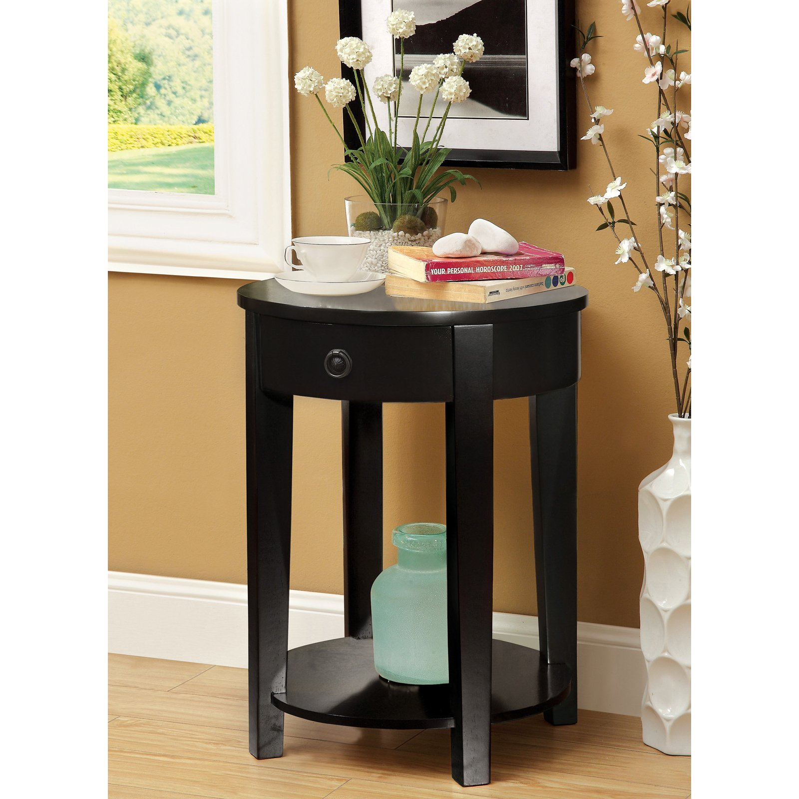 furniture america round side accent table with storage drawer fall quilted runner patterns dresser handles winsome wood counter height dining room sets rod iron patio cement thin
