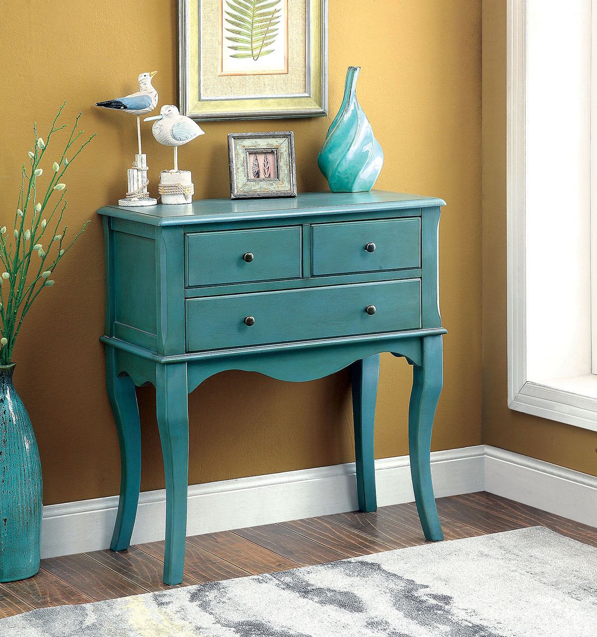furniture america sian collection antique teal accent table touch lamps target ashley round glass coffee long mirror tables end nest small mirrored nightstand nesting laminate