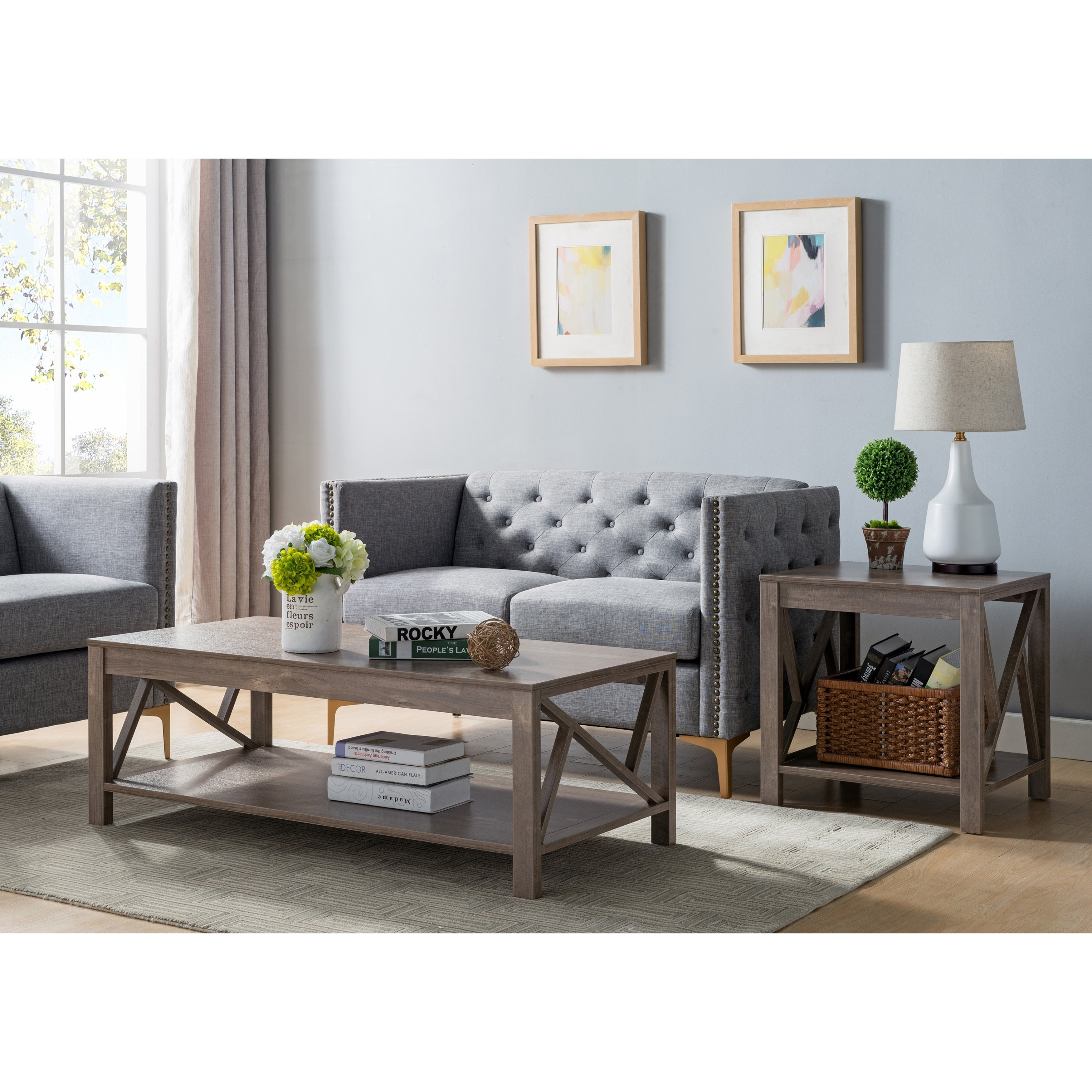 furniture america stamos rustic piece hazelnut accent table set gray free shipping today sheesham wood console bronze wall clock outdoor patio cover farm style dining room nesting