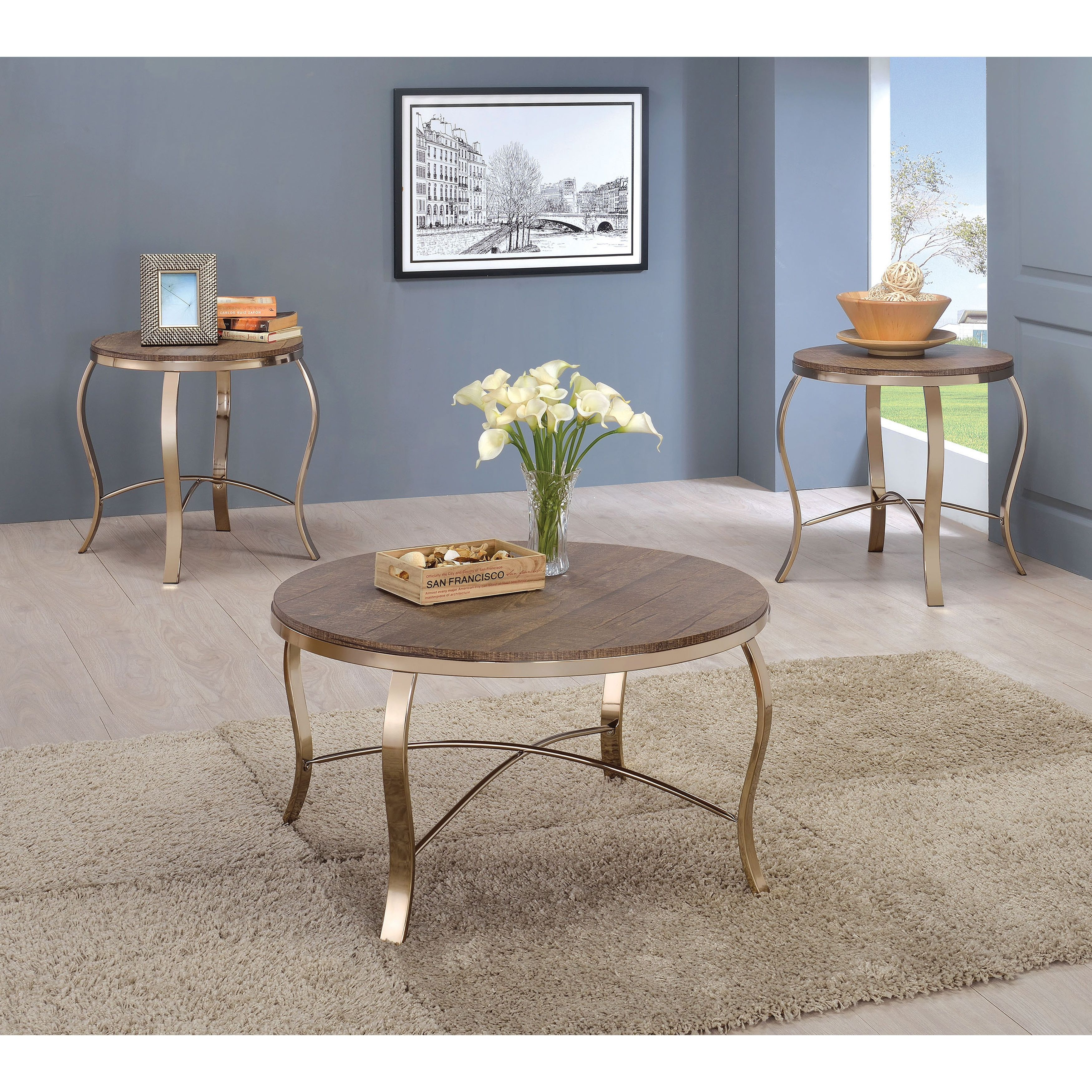 furniture america tayla contemporary piece glam champagne round accent table set rustic oak brown small metal outdoor side whole tablecloths monarch mirrored lamp with usb port