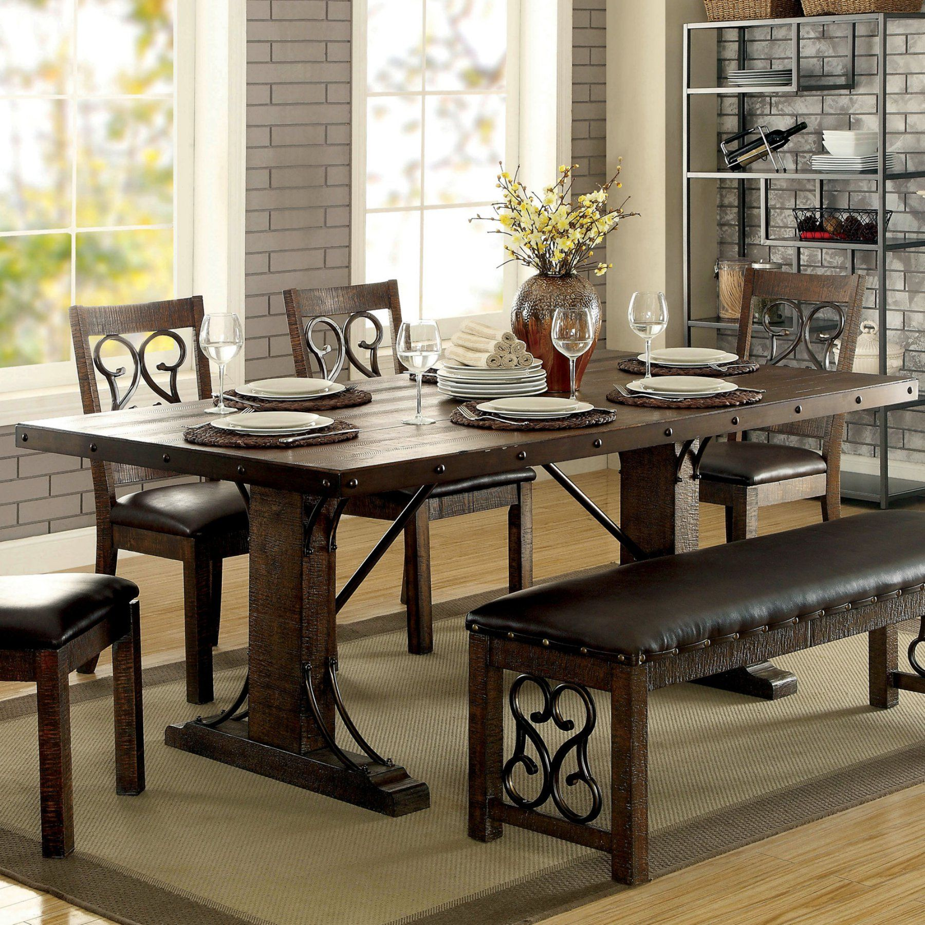 furniture america thwan traditional plank style metal accent dining table accents idf narrow runner homesense chairs teal side living room sofa sets painted tables chests diy