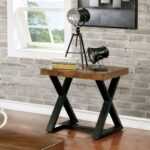 furniture america wildrow black wood trestle end table with rustic two tone room essentials accent oak finish free shipping today bathroom caddy unique sofa tables concrete look 150x150