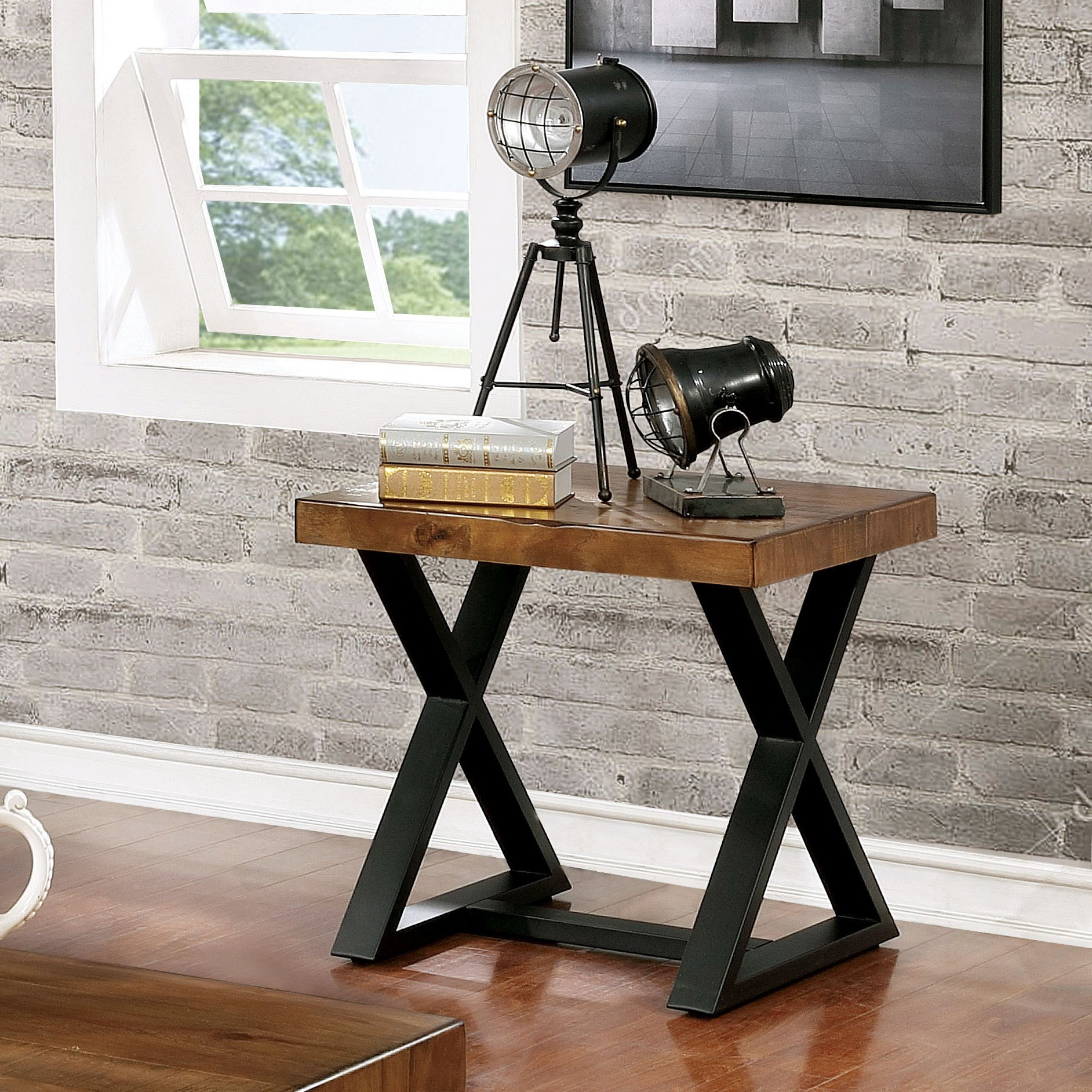 furniture america wildrow black wood trestle end table with rustic two tone room essentials accent oak finish free shipping today bathroom caddy unique sofa tables concrete look