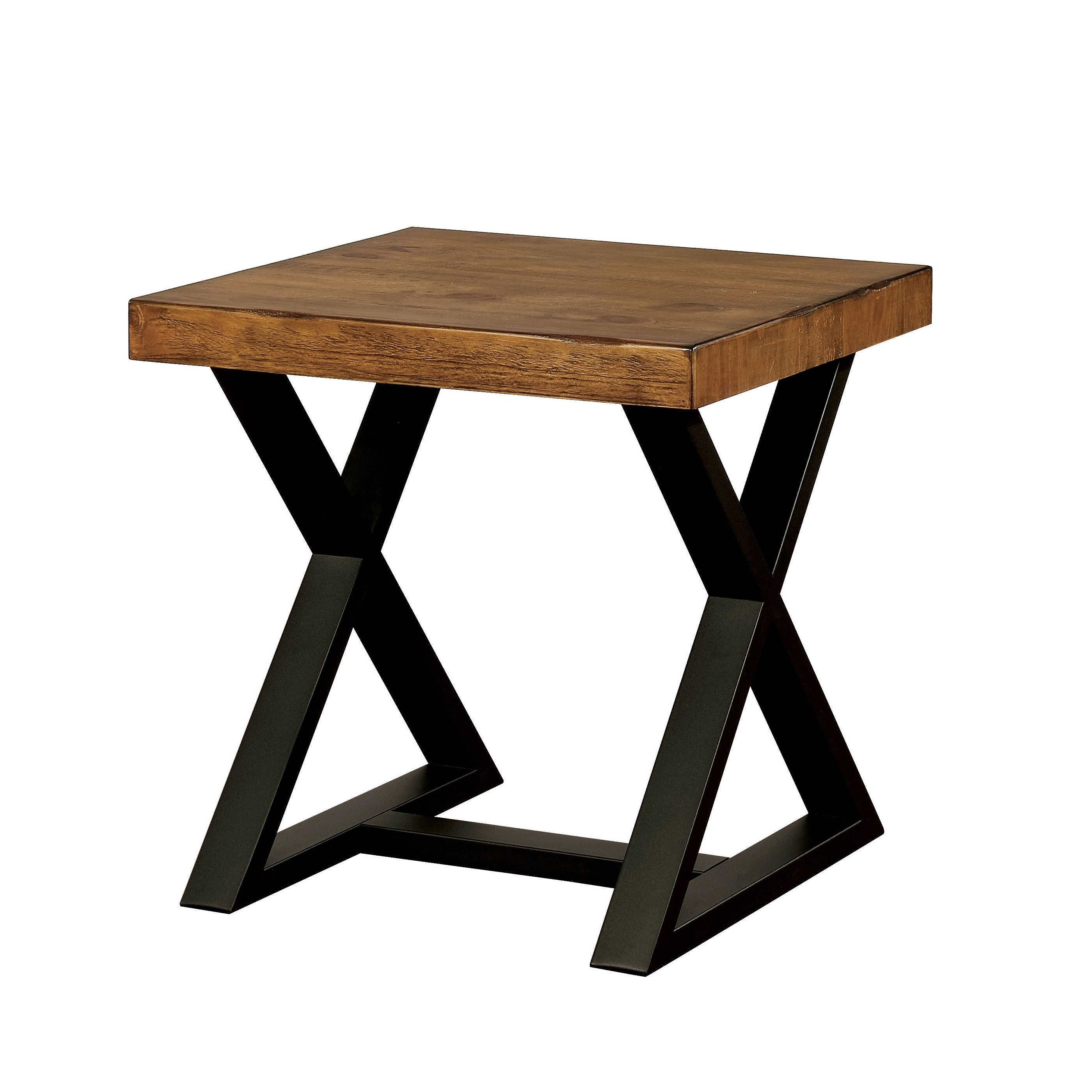 furniture america wildrow black wood trestle end table with rustic two tone room essentials accent oak finish free shipping today small occasional barn door kitchen cabinets