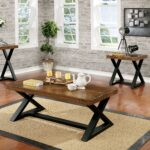 furniture america wildrow rustic two tone brown and black trestle coffee table room essentials accent wood free shipping today outdoor setting cover wrought iron dining living 150x150