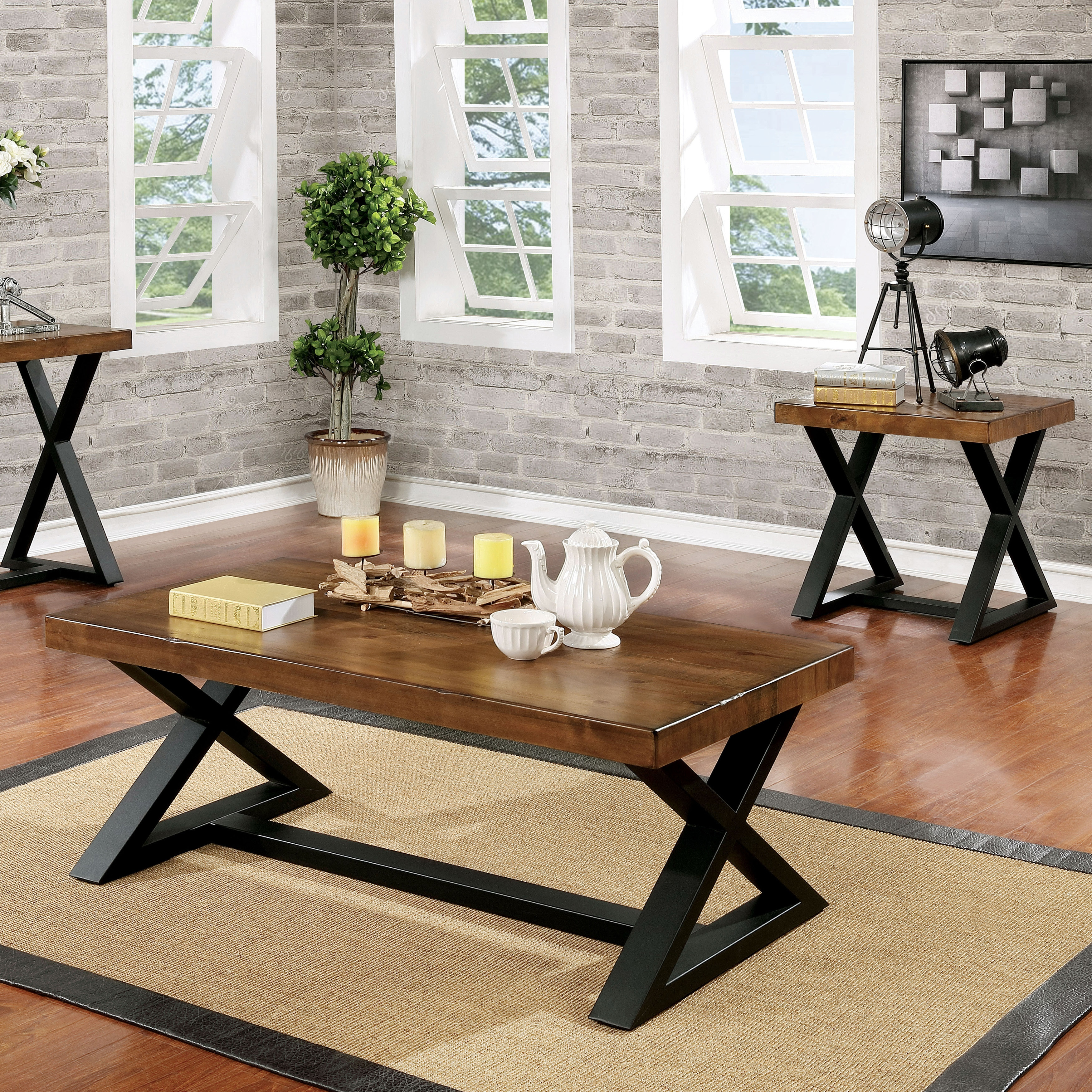 furniture america wildrow rustic two tone brown and black trestle coffee table room essentials accent wood free shipping today outdoor setting cover wrought iron dining living