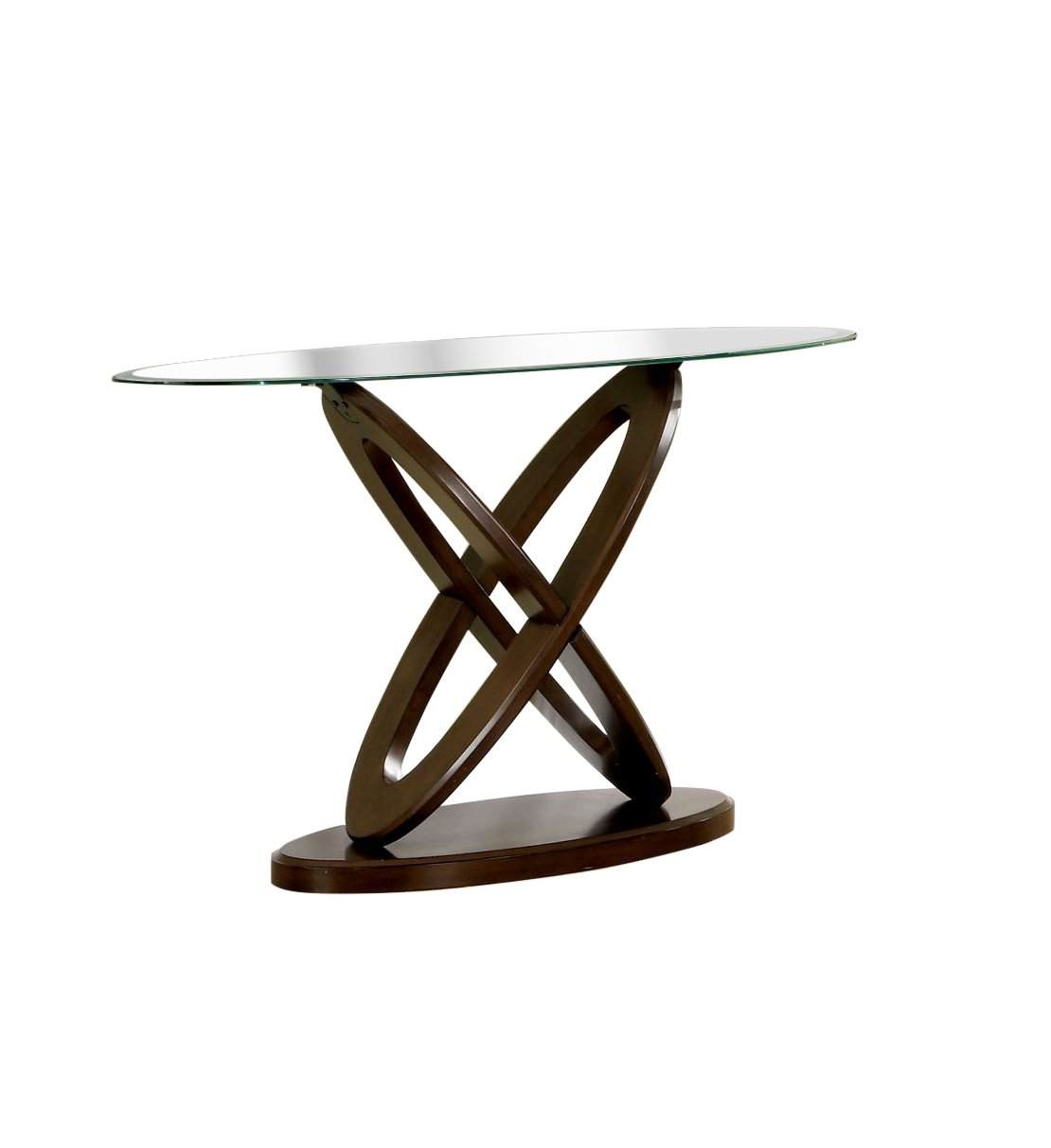 furniture america xenda sofa table with tempered monarch hall console accent cappuccino glass top and cross shaped base dark walnut finish kitchen dining small narrow simon lee