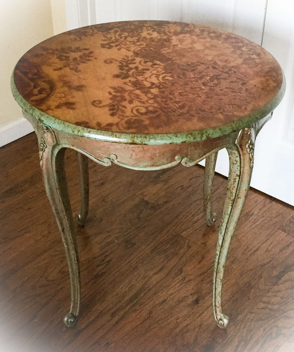 furniture antique accent table copper patina stained wood end and with super wonderful farmhouse long drum side target marble like coffee raw kids bedroom sets inch deep console