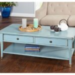 furniture antique distressed blue brass sideboards drawer accent table farmhouse coffee living room made solid wood legs with finish brackets copper hairpin console pier white 150x150