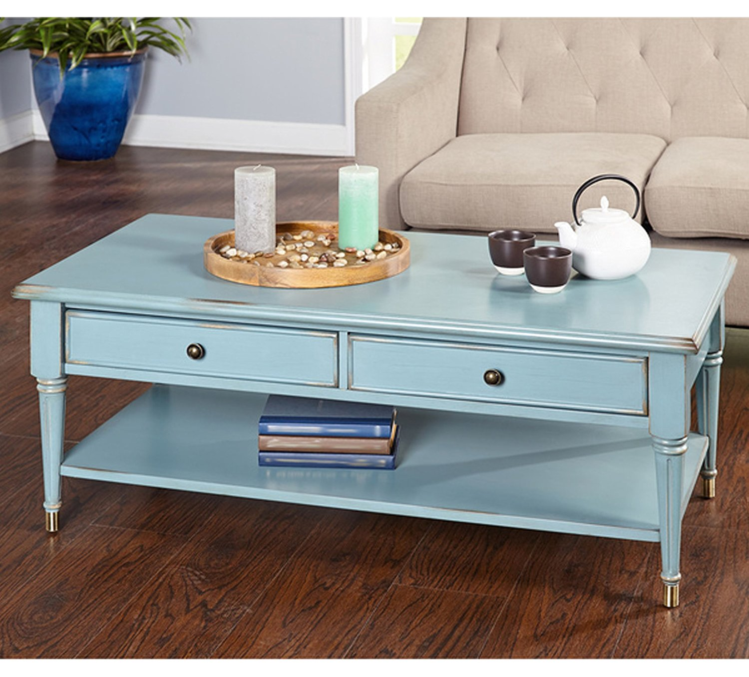 furniture antique distressed blue brass sideboards drawer accent table farmhouse coffee living room made solid wood legs with finish brackets thomasville end tables swing arm lamp
