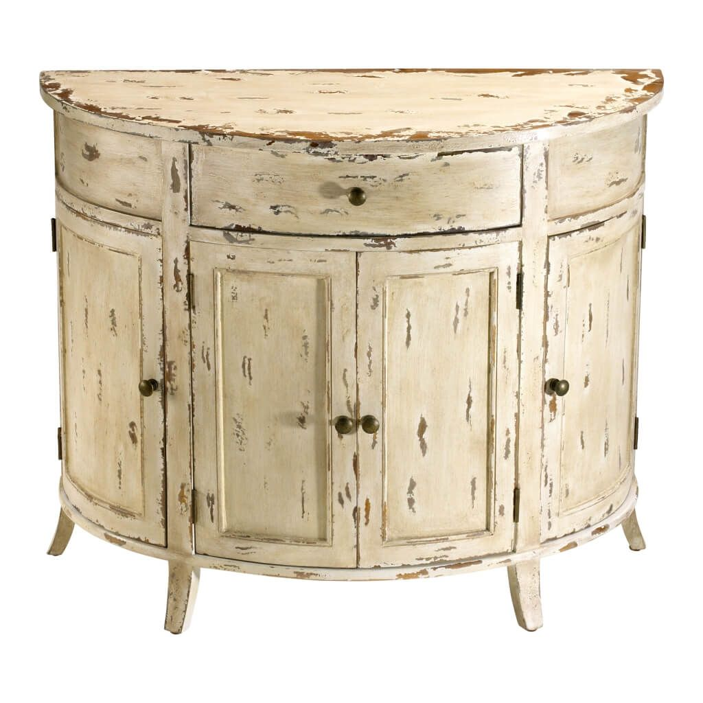 furniture appealing distressed white half moon console table with cabinet and storage drawer bedroom stand accent trestle legs kitchen telephone seat turquoise coffee ivory chair