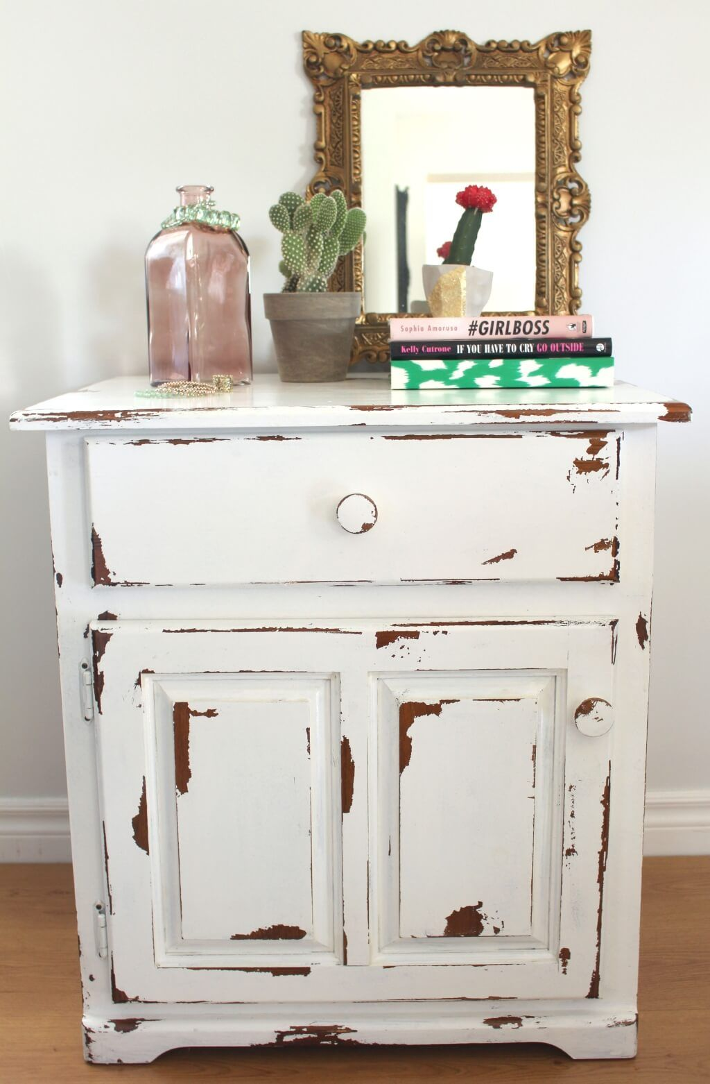 furniture appealing distressed white half moon console table with enticing small side for living room featuring gold framed wall mirror decor how you distress wood accent cabinet