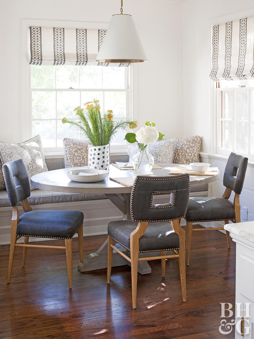 furniture arranging mistakes and how fix them better homes breakfast nook banquette table between two accent chairs kitchen room essentials trestle cabbage rose tiffany lamp retro