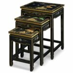 furniture black lacquer nesting table hand riovxl accent painted chinese mountain landscape set kitchen dining pottery barn brass floor lamp knotty pine end tables yellow console 150x150