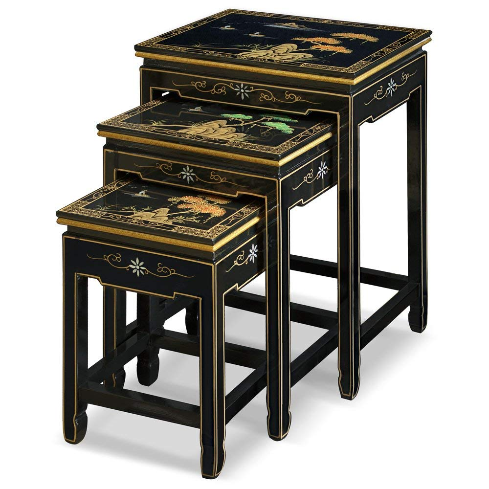furniture black lacquer nesting table hand riovxl accent painted chinese mountain landscape set kitchen dining pottery barn brass floor lamp knotty pine end tables yellow console