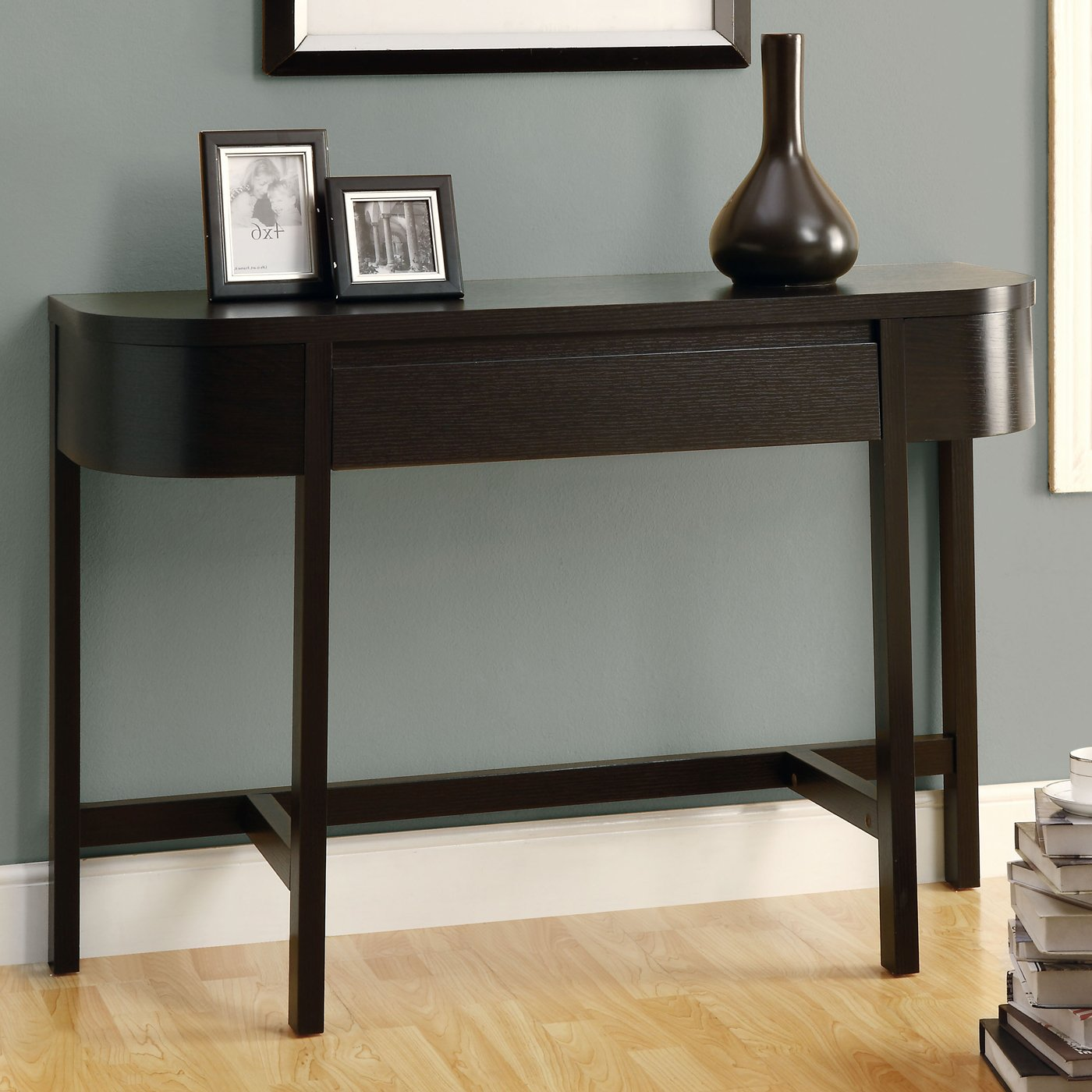 furniture contemporary narrow console table for entryway accent brown espresso wooden decorative urn jar black timber frame gray paint wall oak laminate flooring ideas with