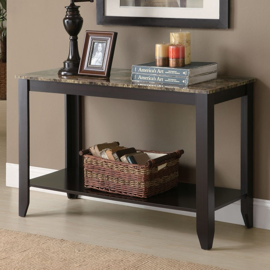 furniture contemporary narrow console table for entryway brown marble top black wooden wicker storage basket fiber rug pad big decorative candles frame chocolate paint wall accent