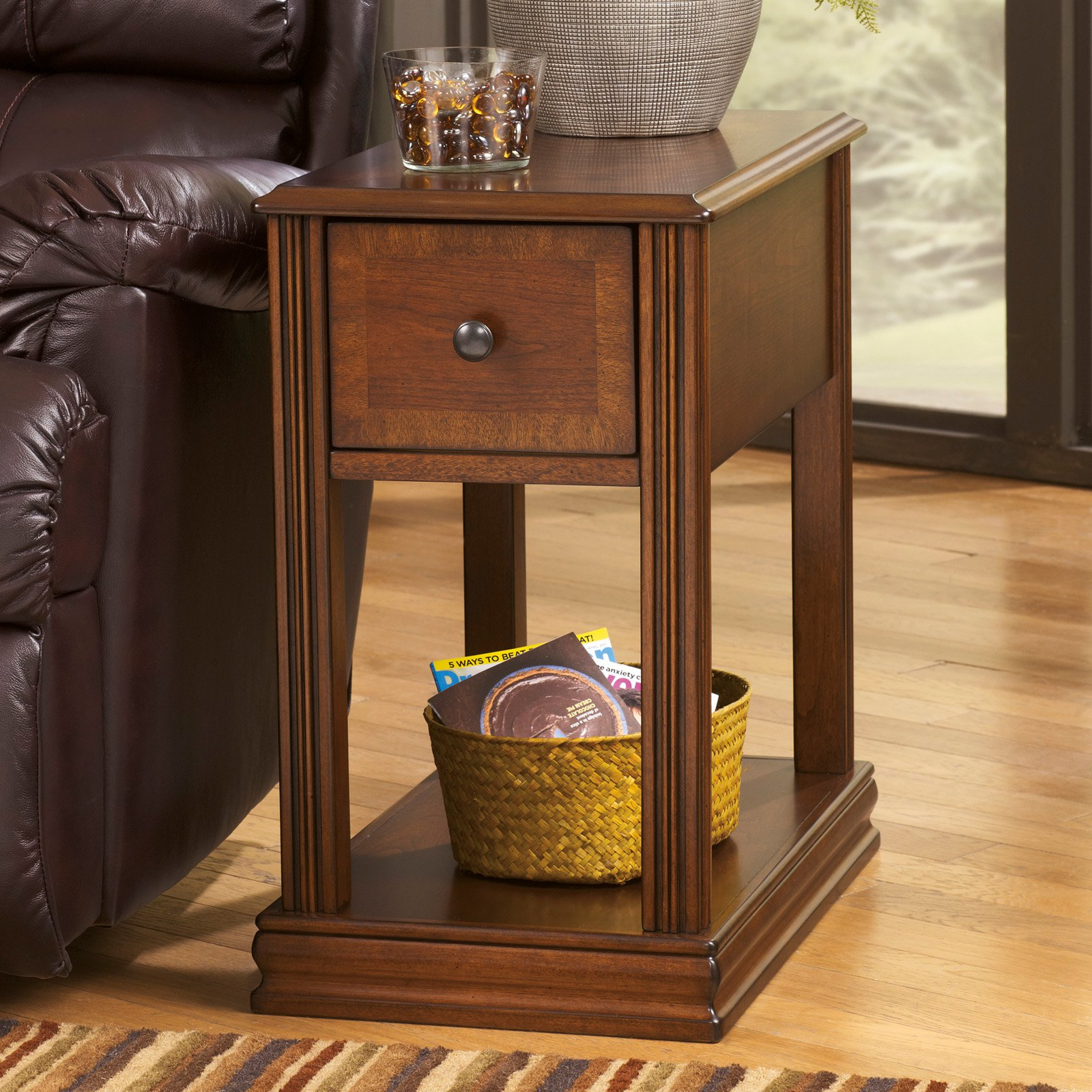 furniture cool chairside table for living room design with magazine rack round cherry end broyhill cross island tabl accent oval coffee plans bath beyond wedding registry trunk